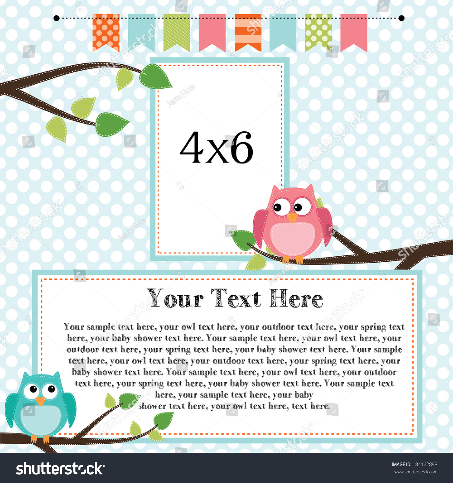 Owl Scrapbooking Template Banner Bunting 4x6 Stock Vector Royalty Free 184162898