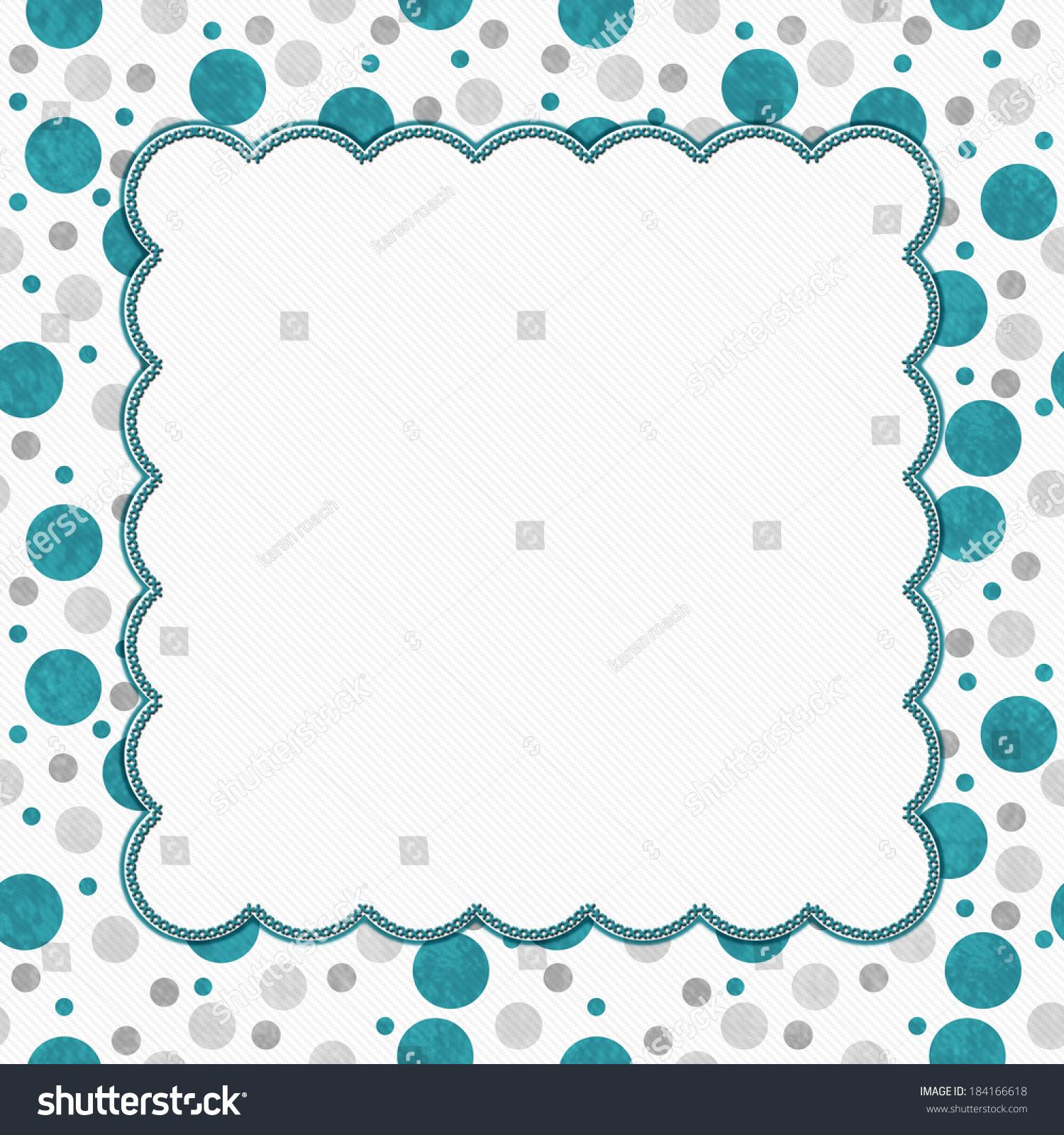 Teal Gray White Polka Dots Frame Stock Illustration 184166618 ...