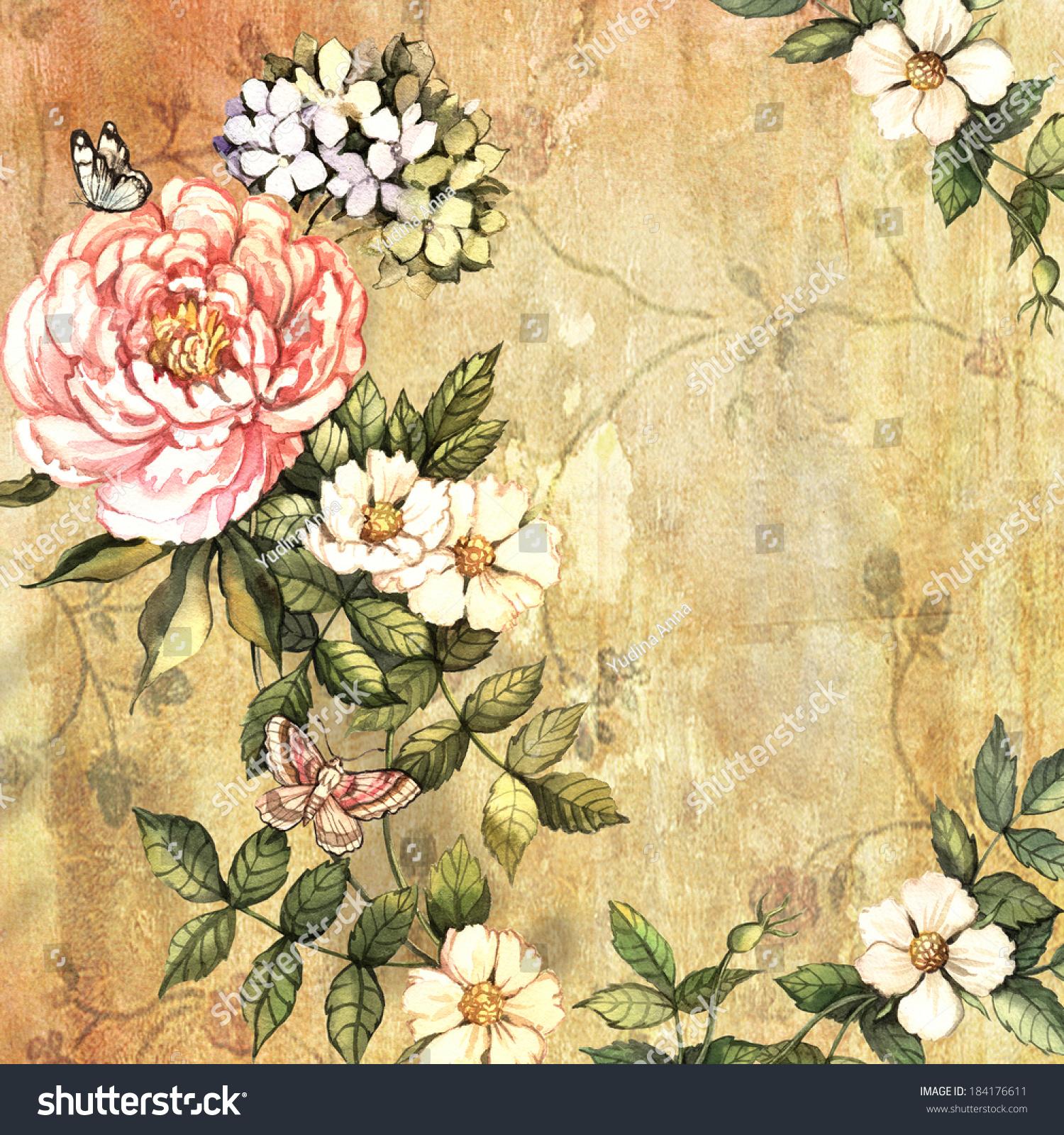 Vintage Flowers On Vintage Background Hand Stock