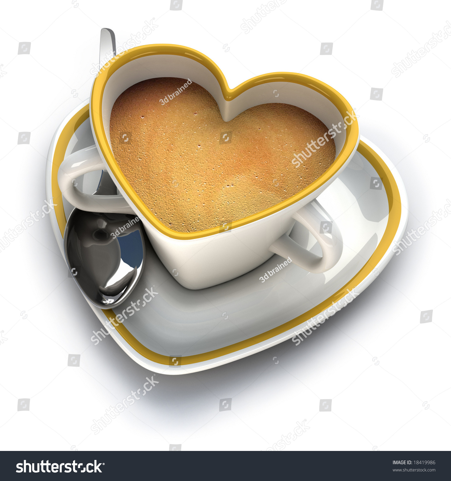 Heart Shaped Coffee Cup Two Stock Illustration 18419986