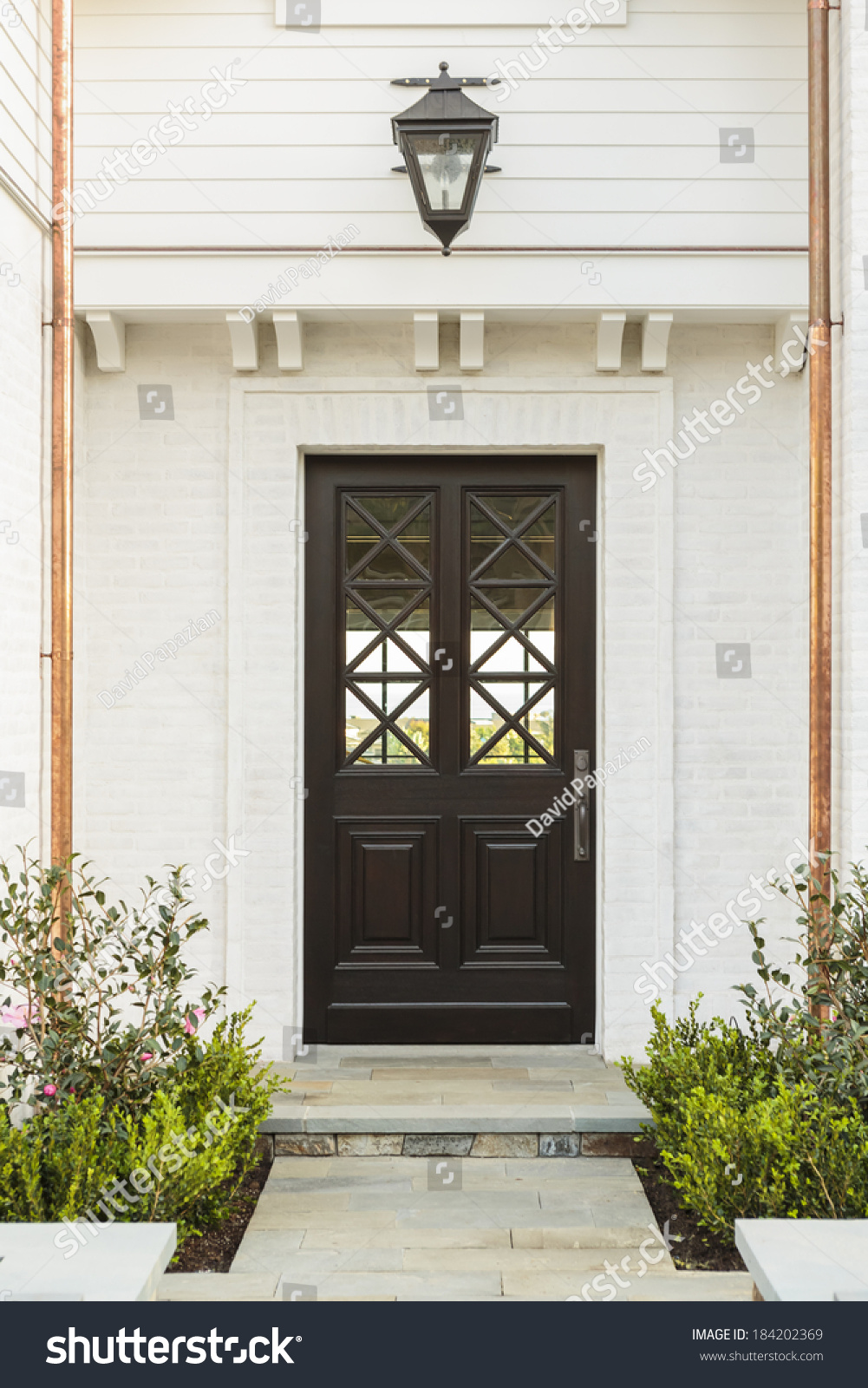 Intricate Design On Wooden Front Door Stock Photo (Download Now ...