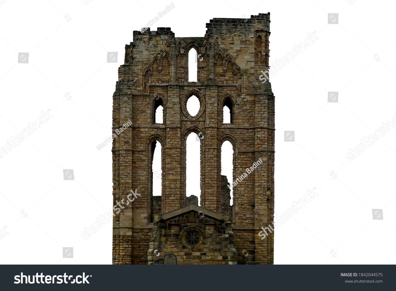 Ruins of Tynemouth Priory (Uk) isolated on white background #1842044575