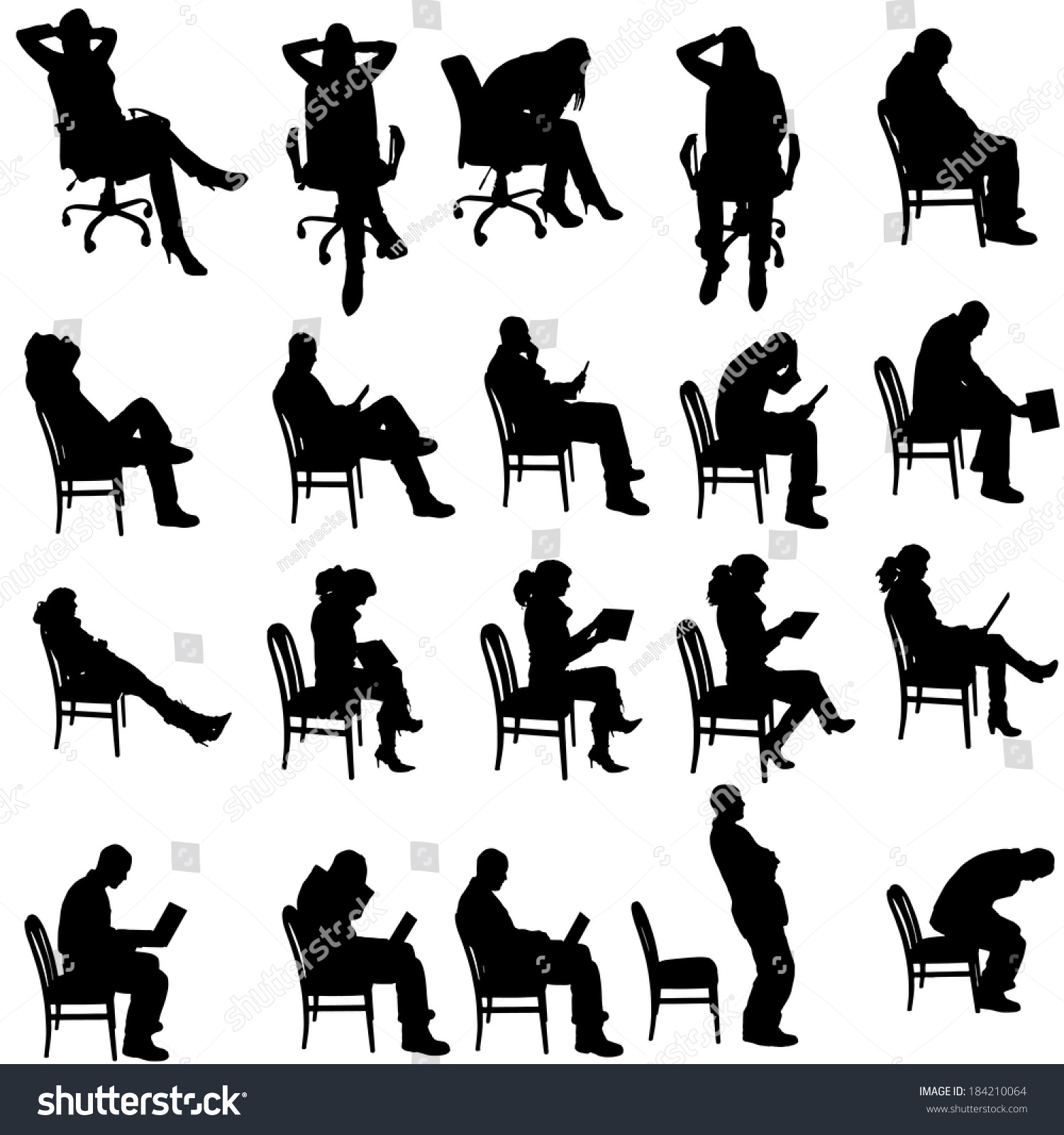 Vector silhouette of people sitting on a white background 184210064