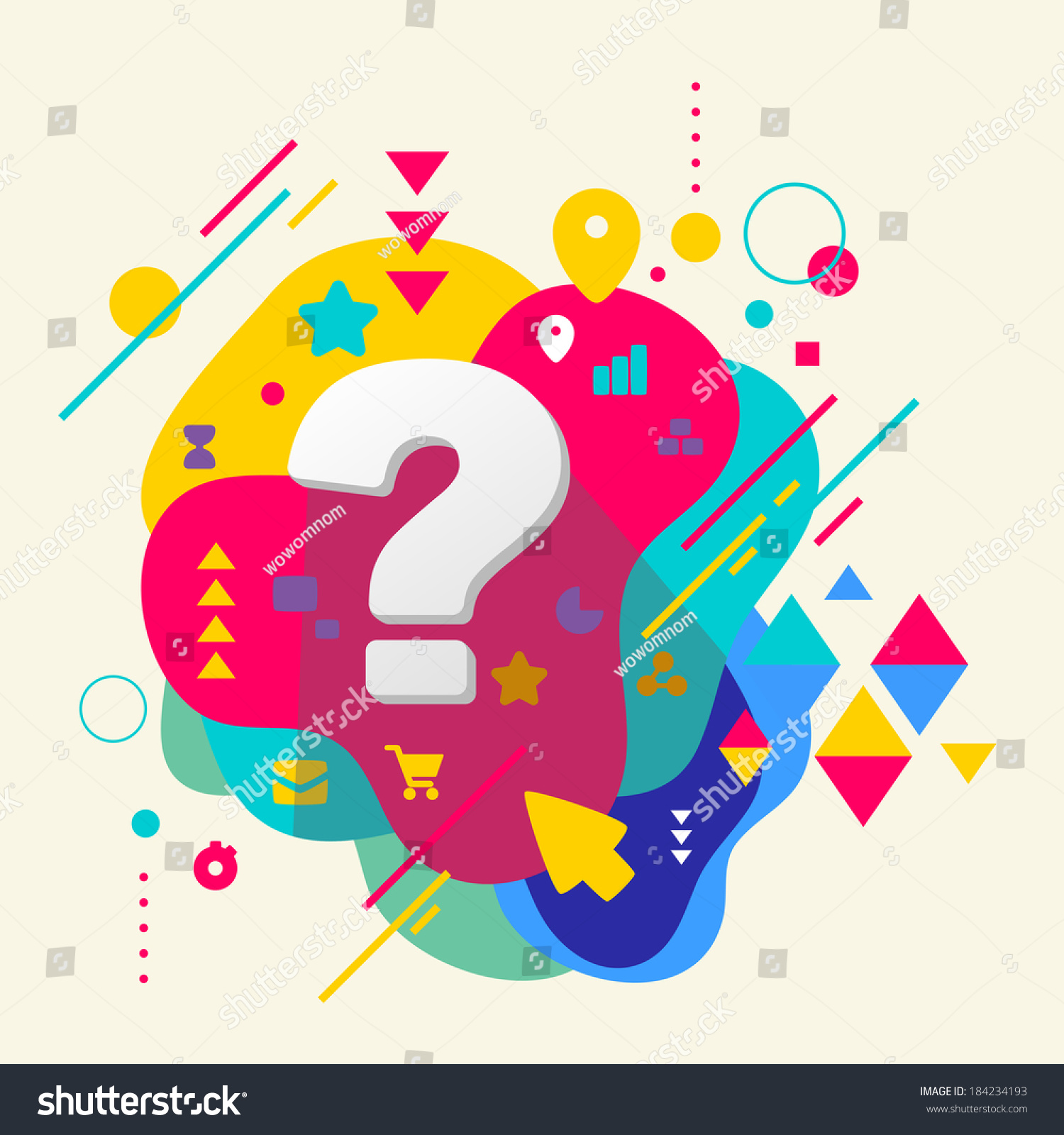Question mark on abstract colorful spotted stock vector for Decor questions