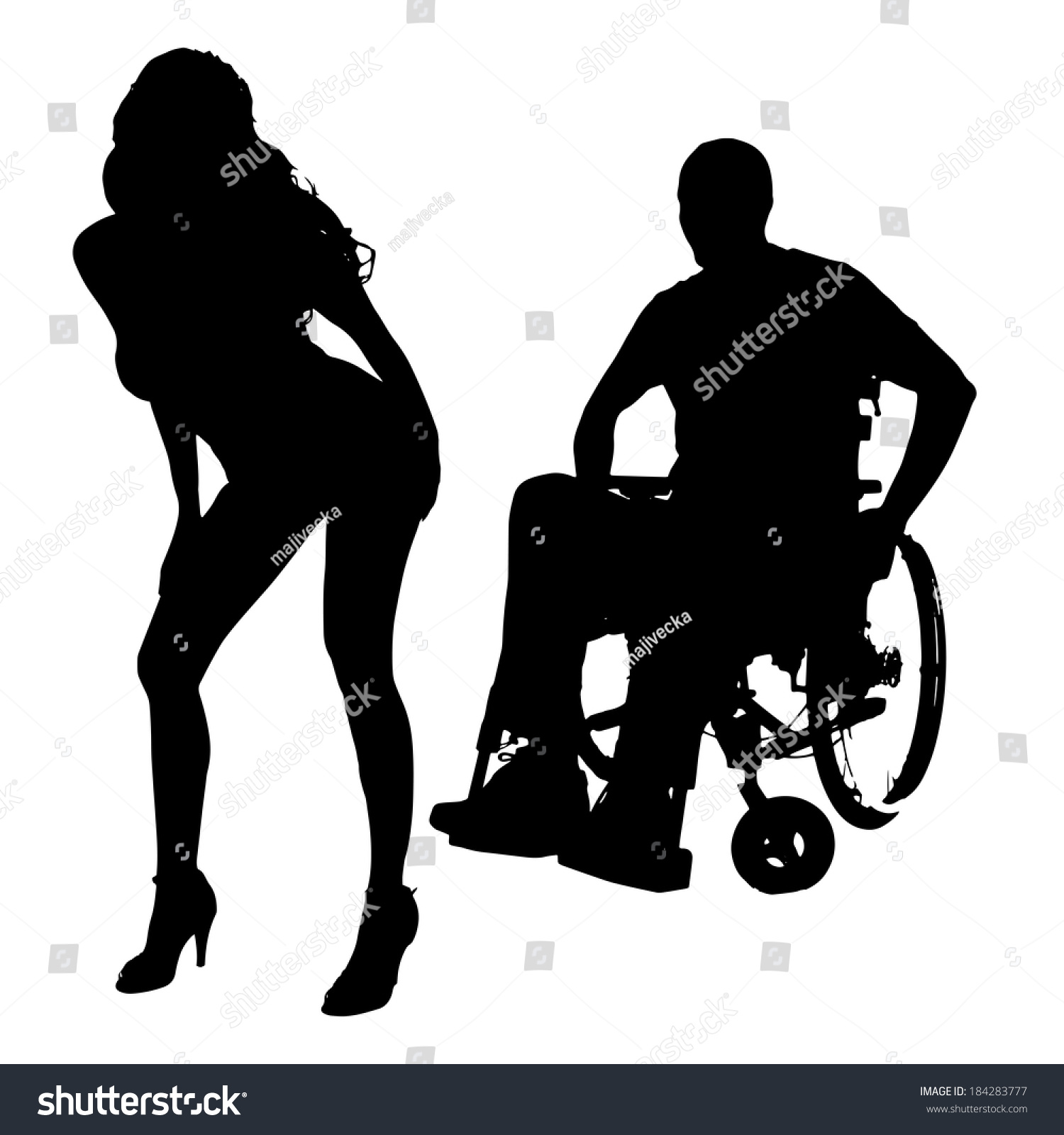 Vector Silhouette Man Sexy Woman On Stock Vector 184283777 - Shutterstock-7024