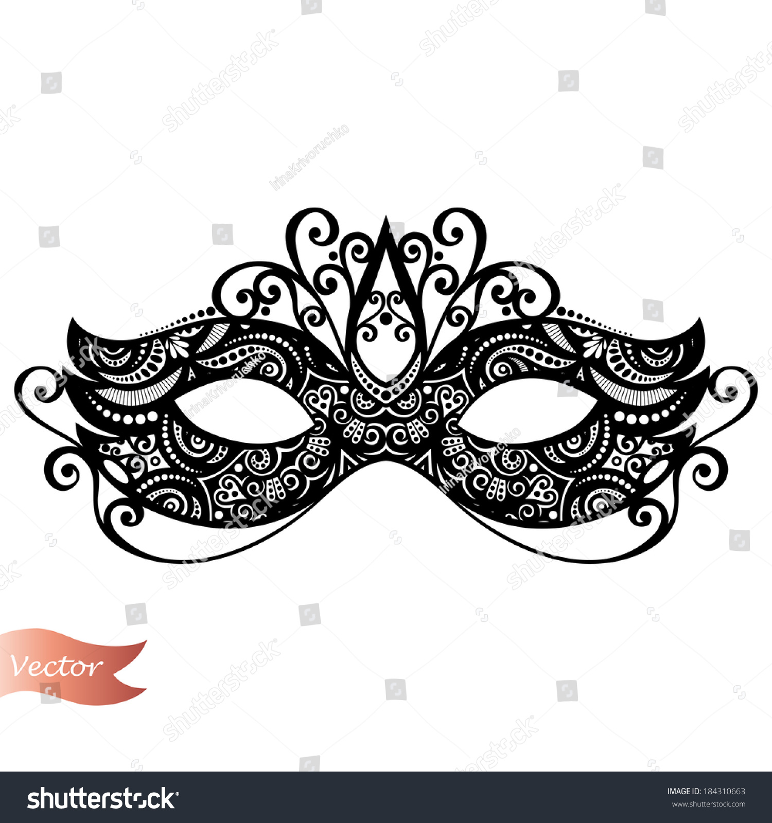 Beautiful Masquerade Mask Vector Patterned Design Stock Vector HD ...
