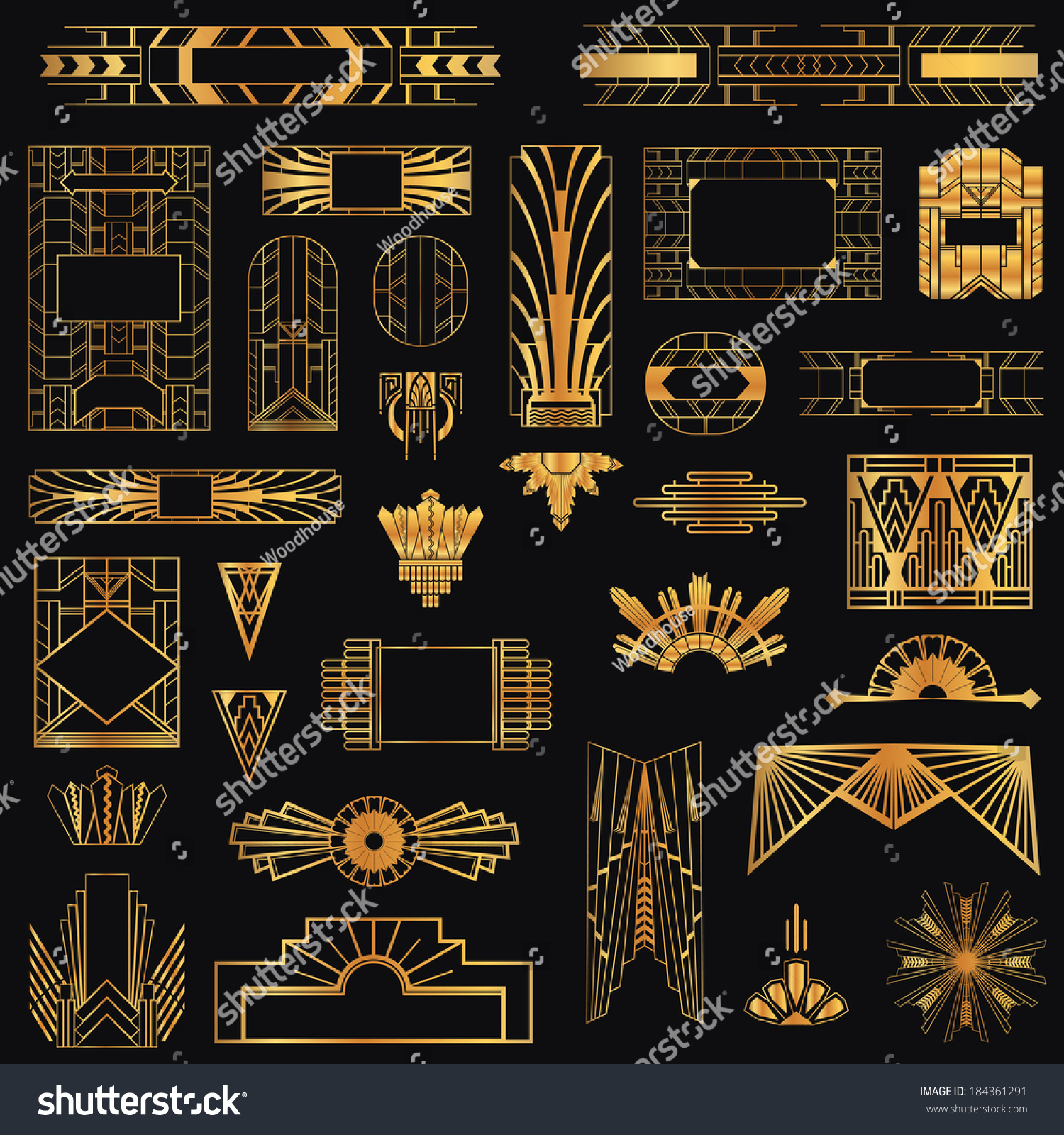 Art deco vintage frames design elements stock vector for Design art deco