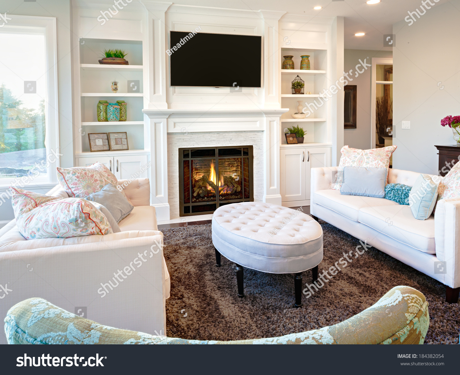 Living Room Luxury Home Fireplace Stock Photo 184382054