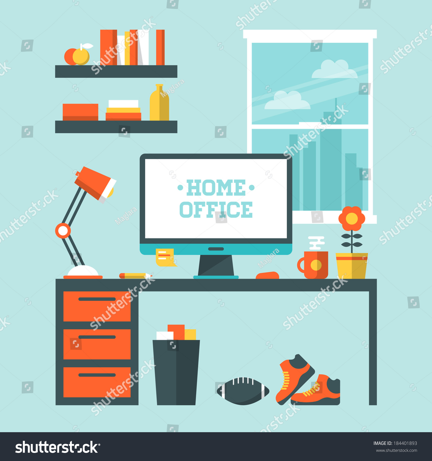 Flat design vector illustration modern home stock vector Office designer online