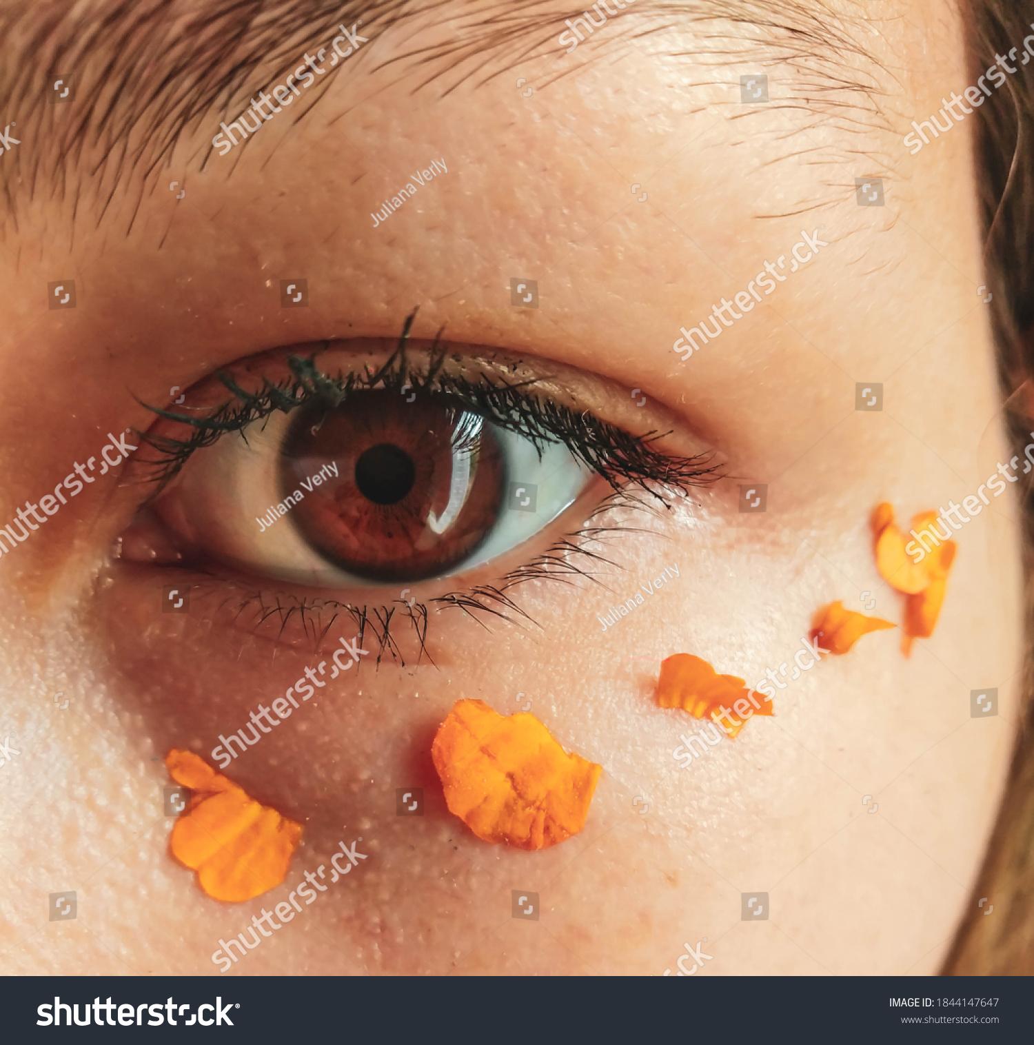 brown look with petals around