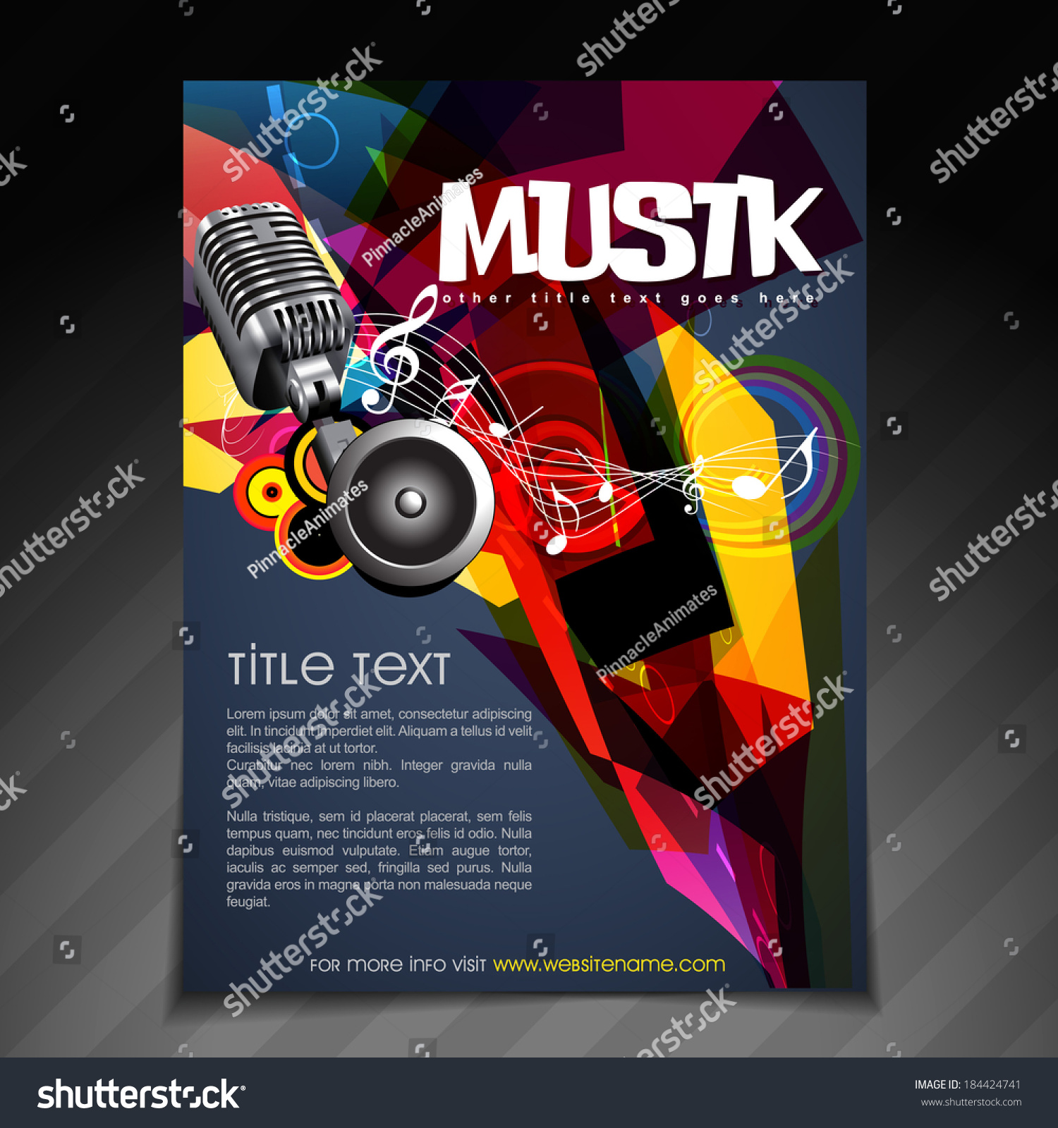 Vector Music Party Brochure Flyer Template Vector 184424741 – Music Brochure