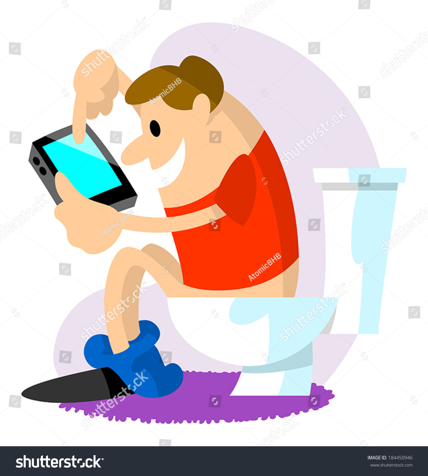 using the bathroom. Man using phone while the bathroom Using Phone While Bathroom Stock Vector 184450946