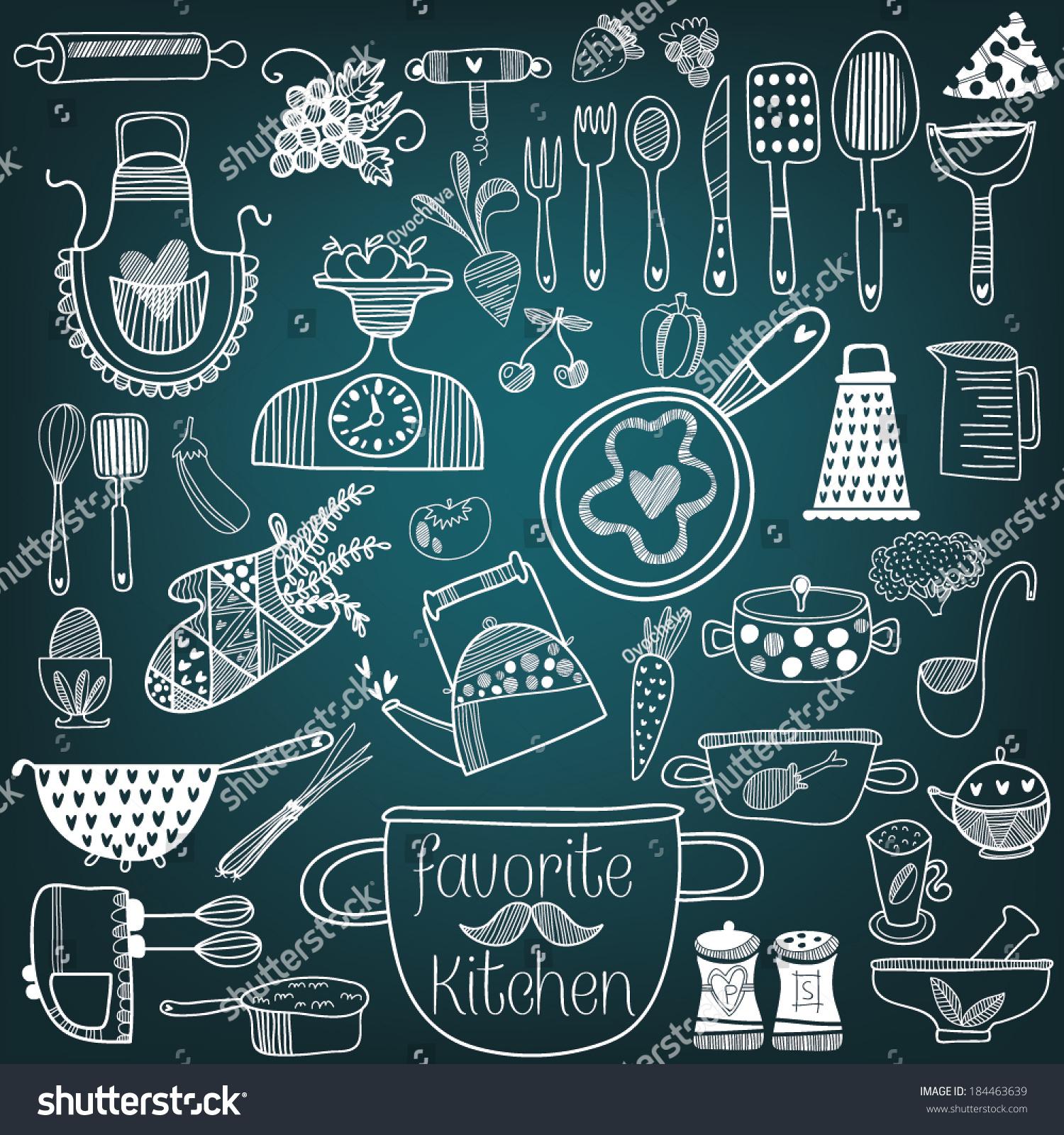 Chalkboard Kitchen Set Kitchen Tools On Chalkboard Background Stock Vector 184463639