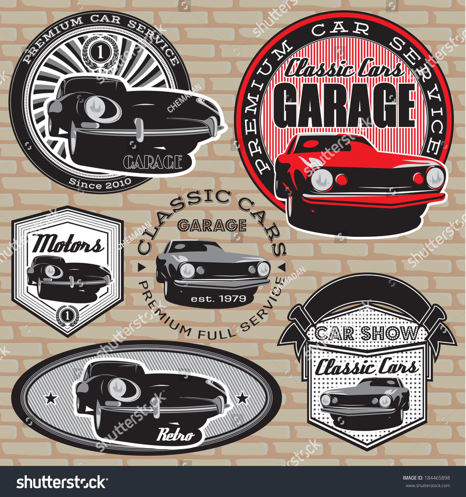 Royalty Free Set Of Vector Emblems With Retro Car On 184465898