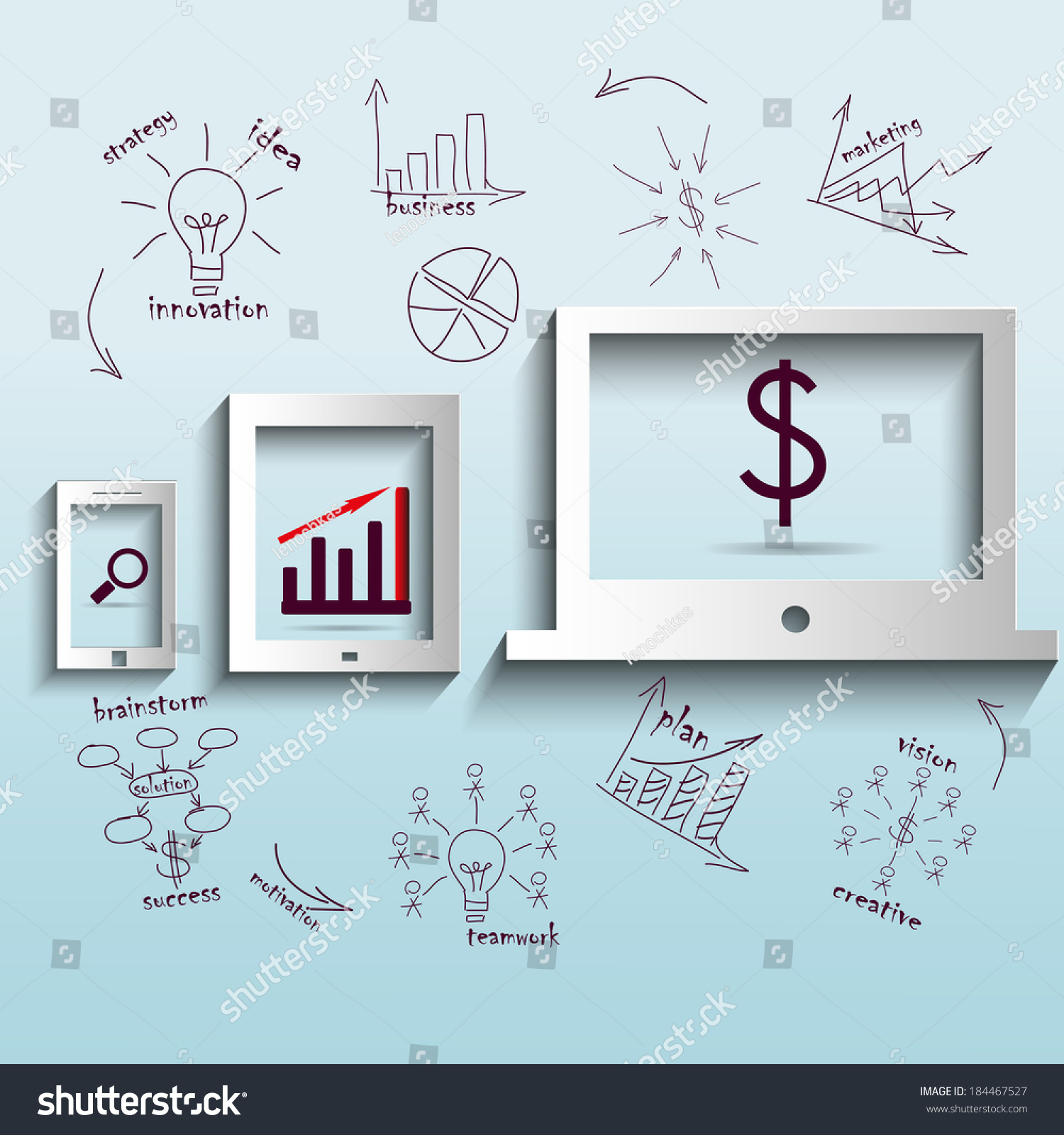 Computer Drawing Business Plan Concept Ideas Stock Vector Royalty