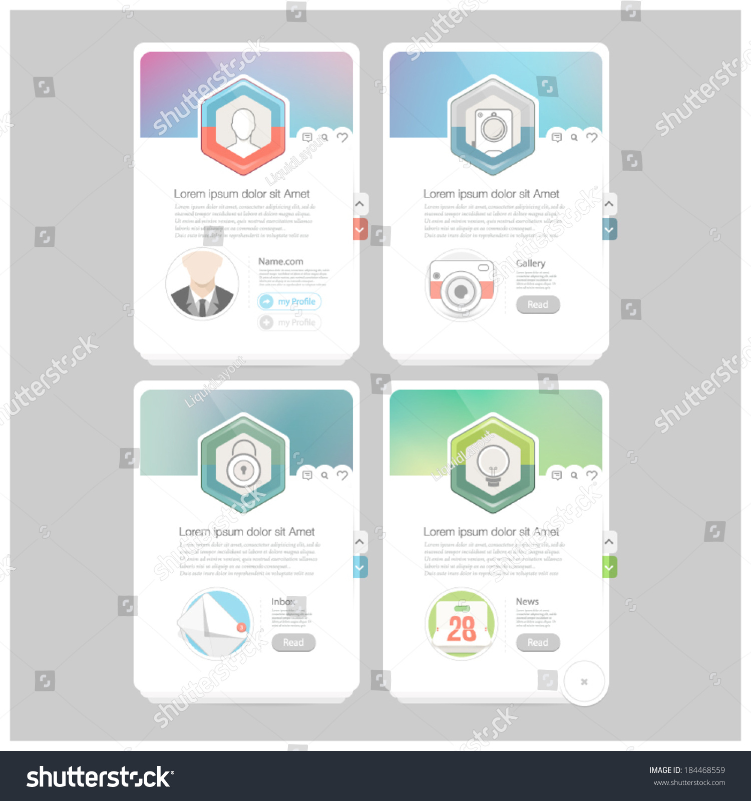 Colorful Responsive Flat Widget Elements Icons Stock Vector ...