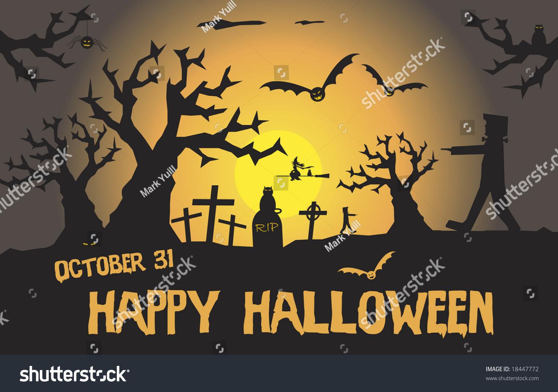 Scary Halloween Scene Space Text Stock Vector 18447772 - Shutterstock