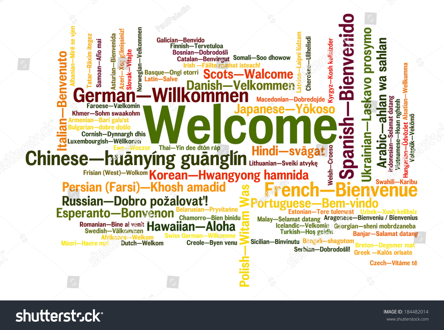 Welcome Phrase 78 Different Languages Words Stock Illustration