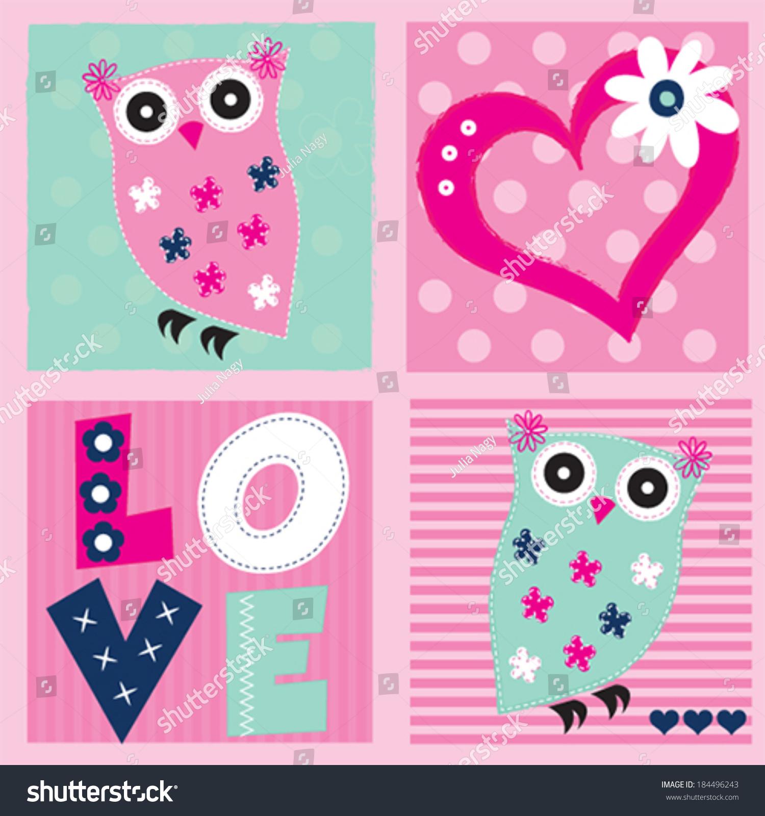 Cute owl invitation card vector illustration stock vector cute owl invitation card vector illustration stopboris Choice Image