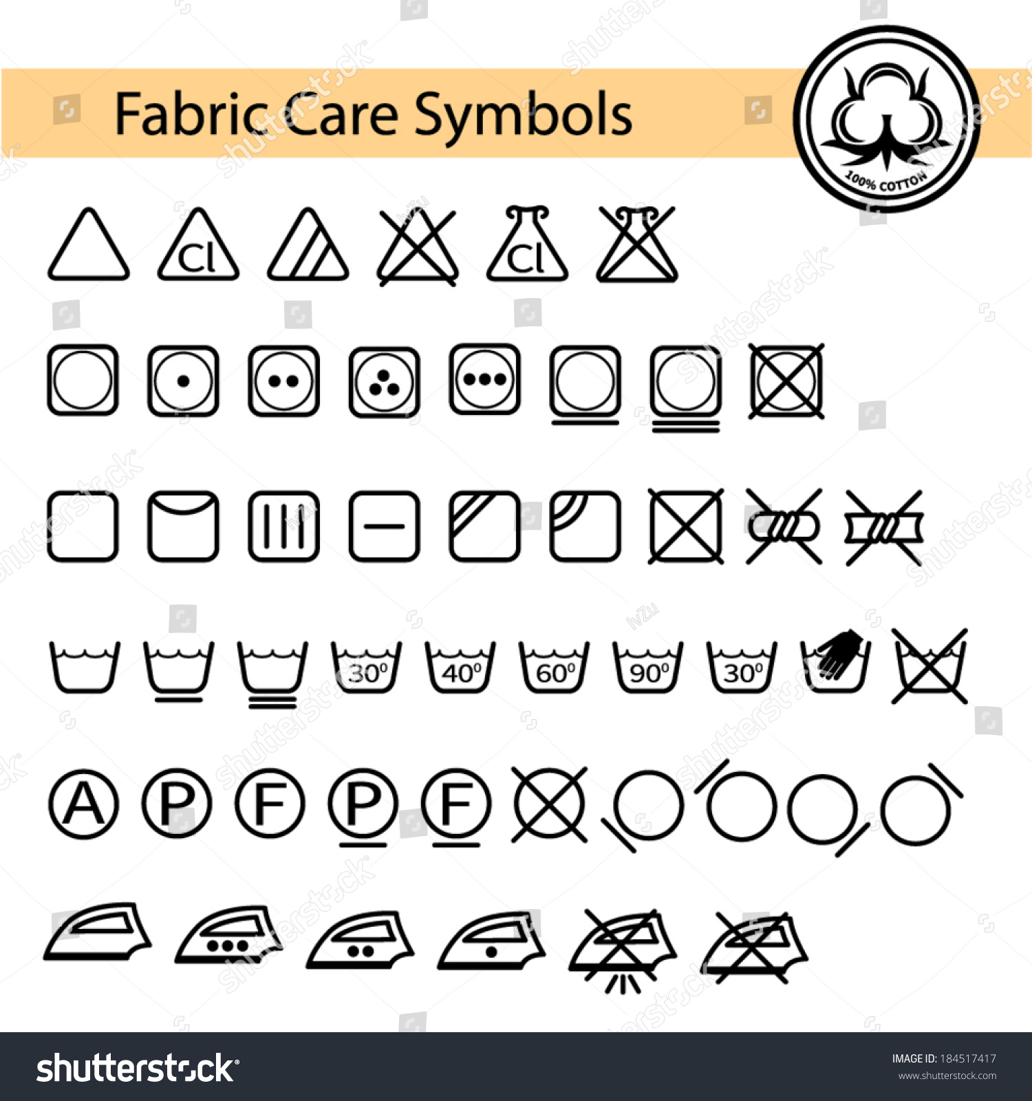 Fabric Care Symbols Stock Vector Royalty Free 184517417 Shutterstock