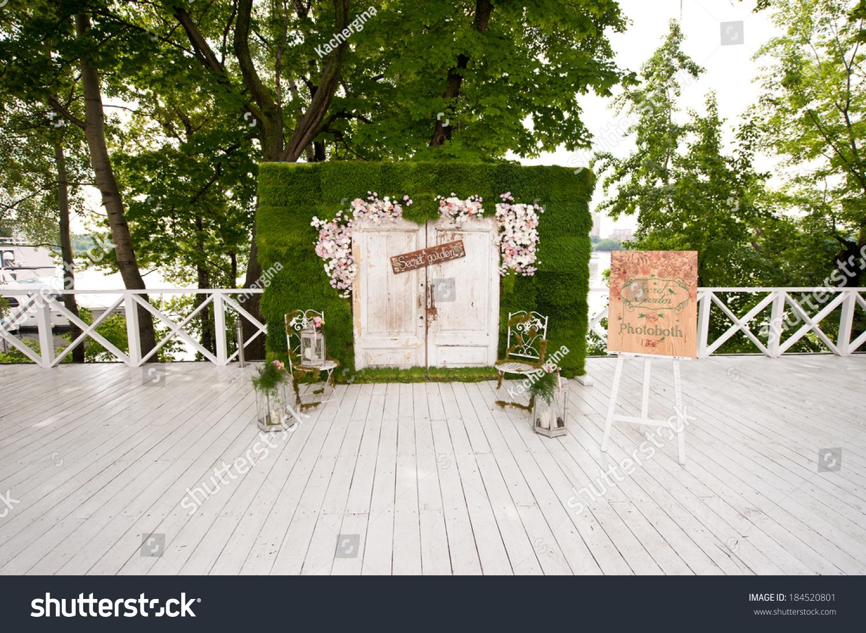 wedding photobooth decoration stock photo 184520801 shutterstock. Black Bedroom Furniture Sets. Home Design Ideas