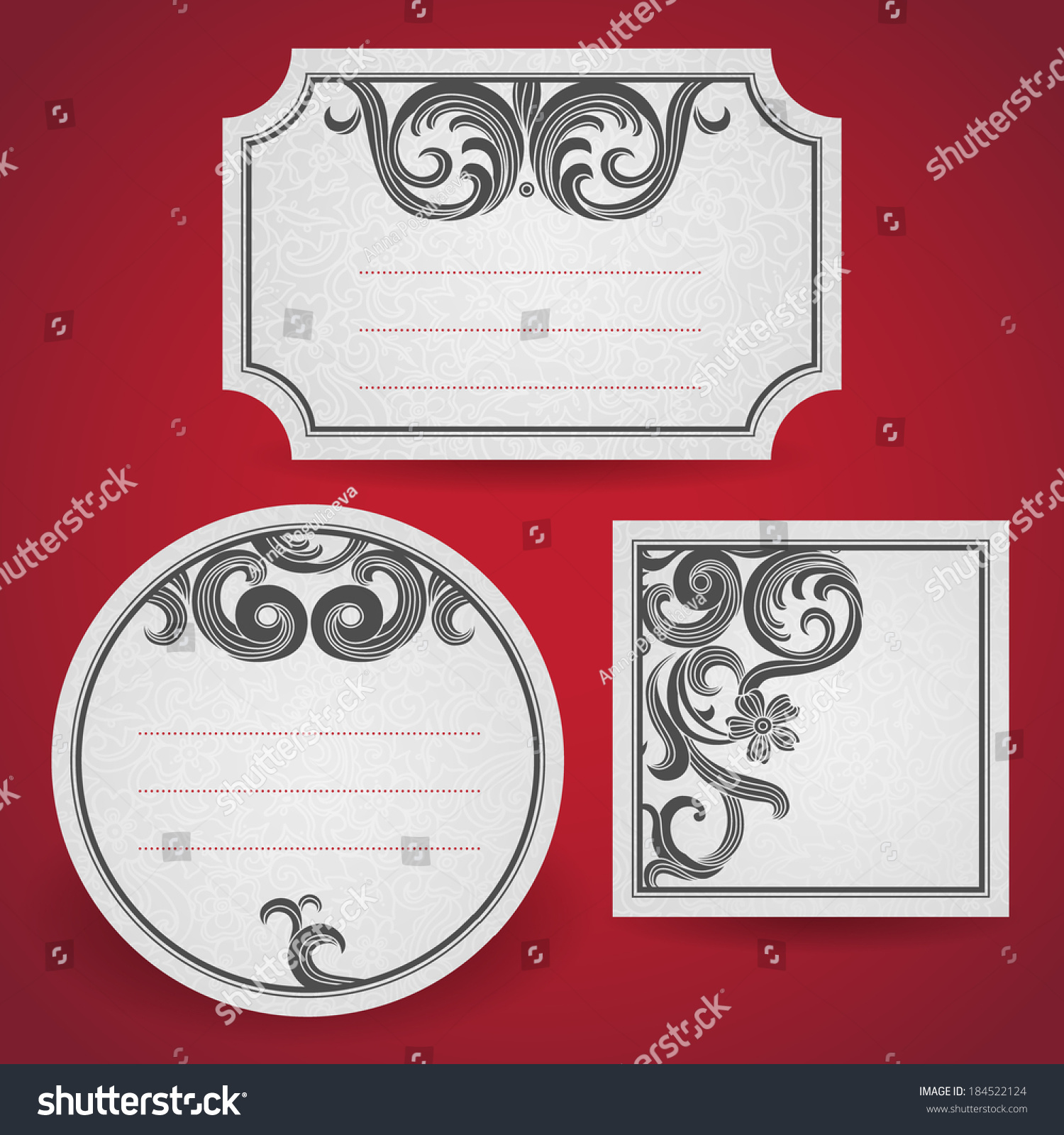 Cards Black Curls On Scroll Work Stock Vector (Royalty Free ...