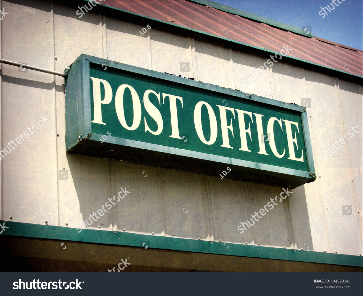 Aged And Worn Vintage Photo Of Post Office Sign