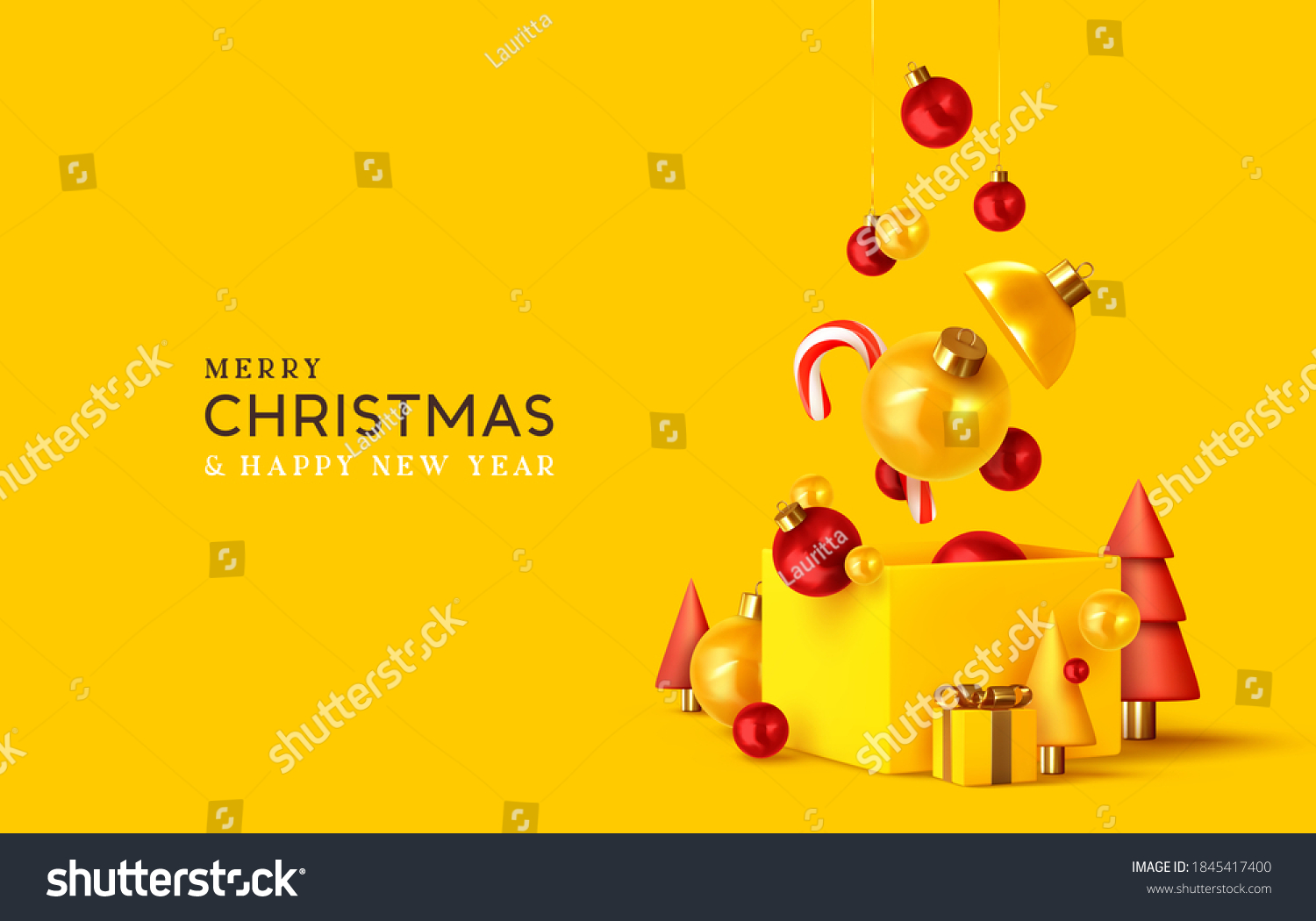 Merry Christmas and Happy New Year. Xmas design realistic abstract 3d objects. Gift box, bright bauble balls hanging from ribbon, conical pine tree, spruce, Soft yellow-red colors. vector illustration #1845417400