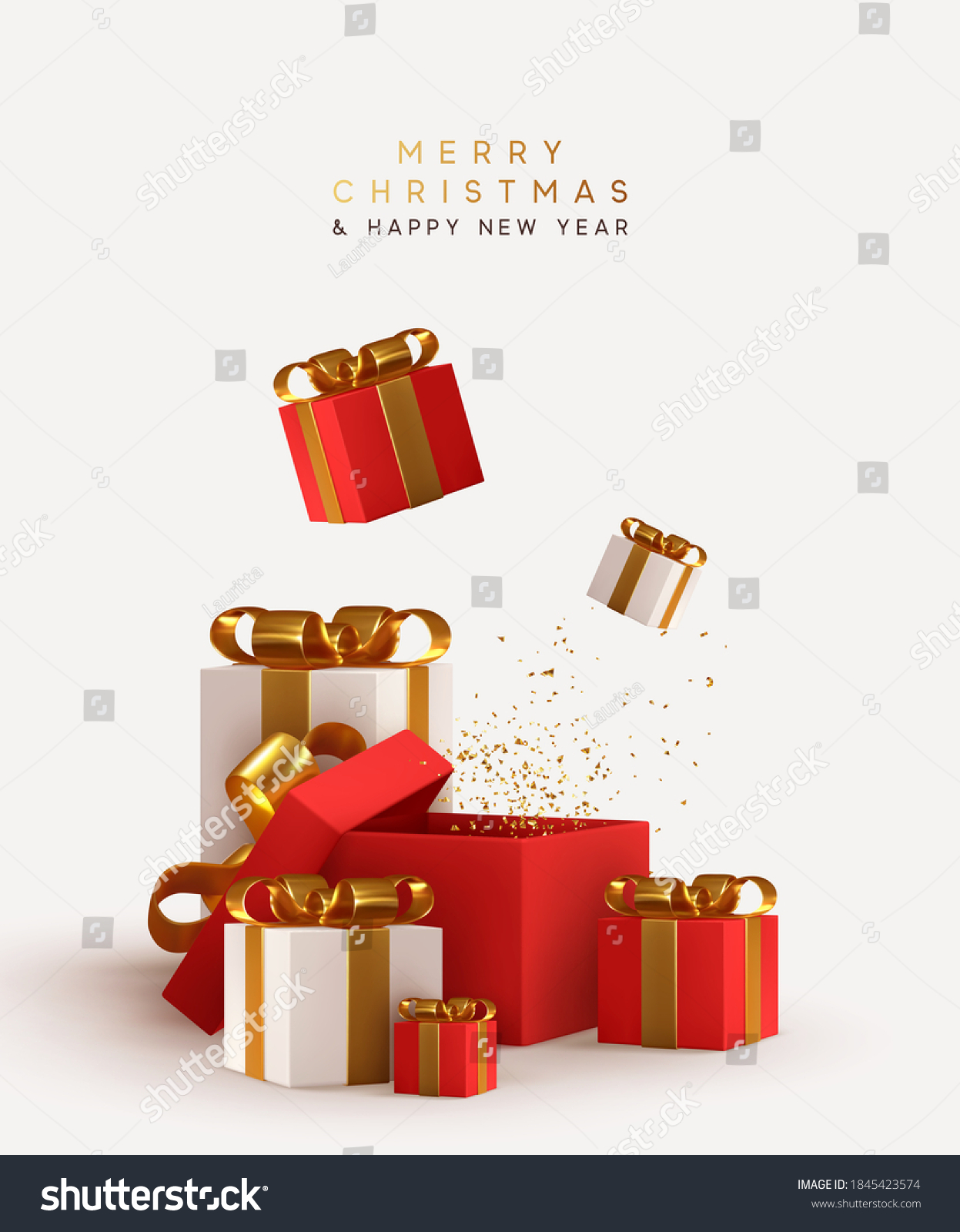 Realistic pile white and red gifts boxes. Open gift box. Decorative festive object. New Year and Christmas design. Holiday banner, poster, flyer, stylish brochure, greeting card, Xmas background #1845423574