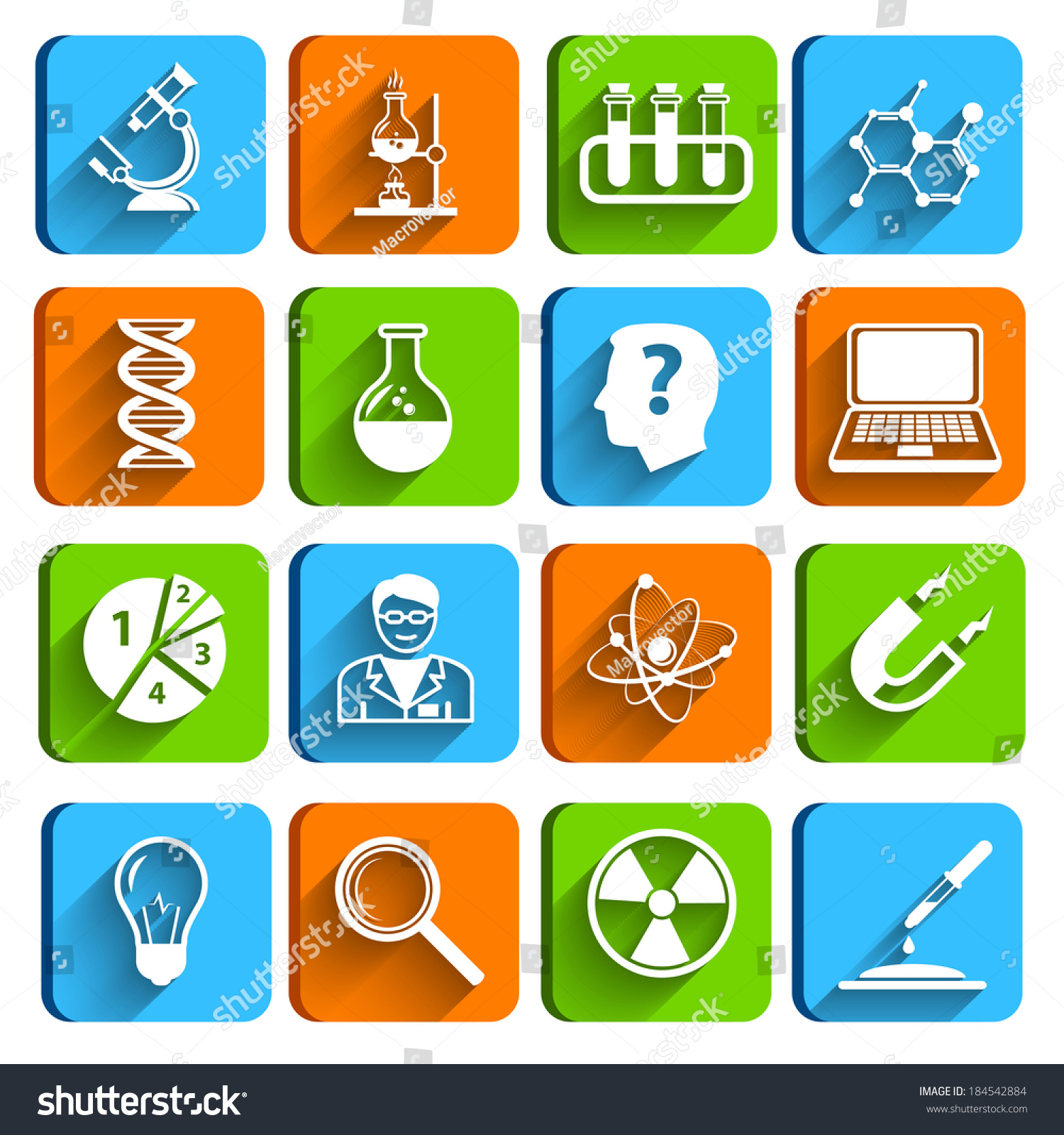 Science Laboratory Physics Chemistry Medical Technology Pharmacy Flat Icons Set Vector Illustration