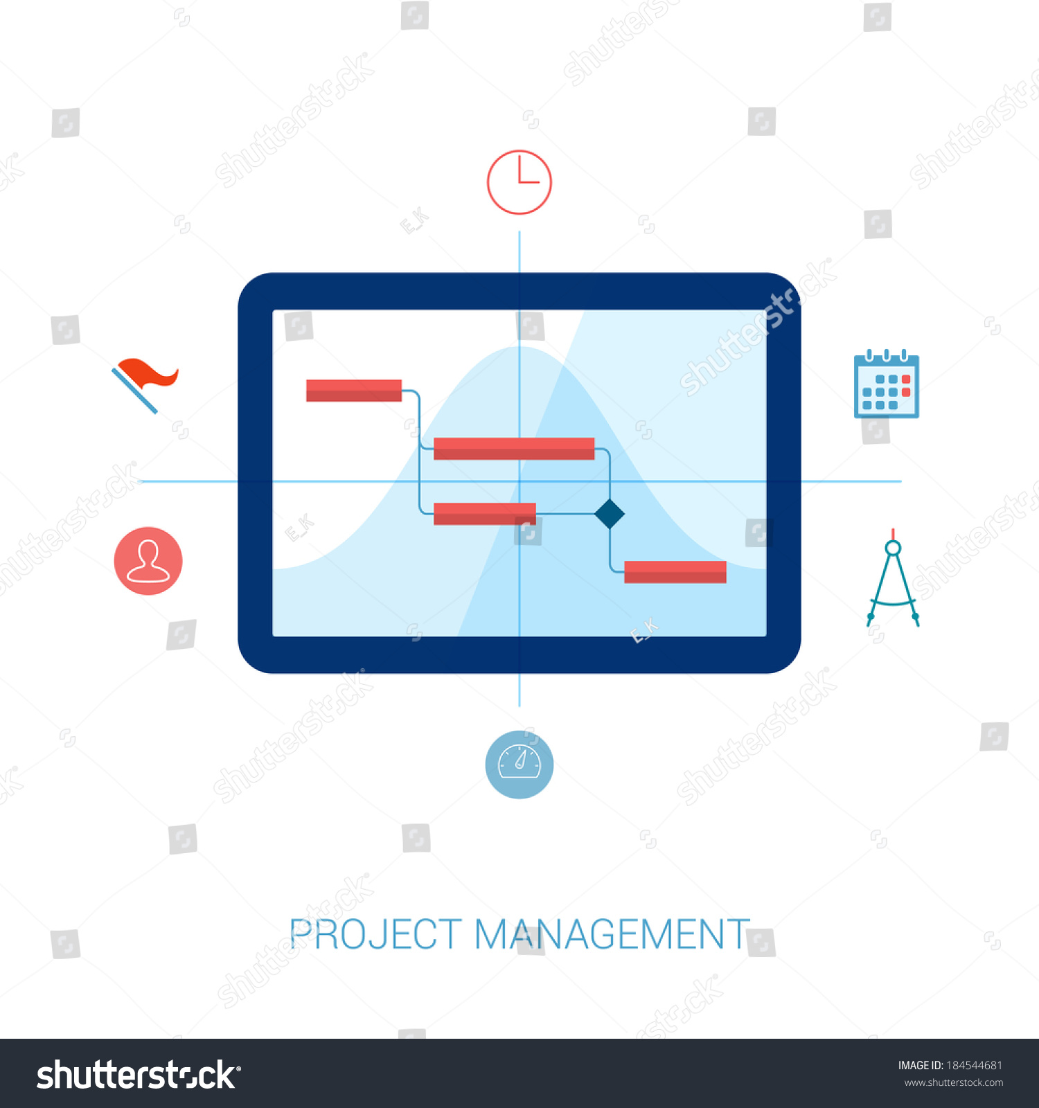 flat style project management planning resource stock vector
