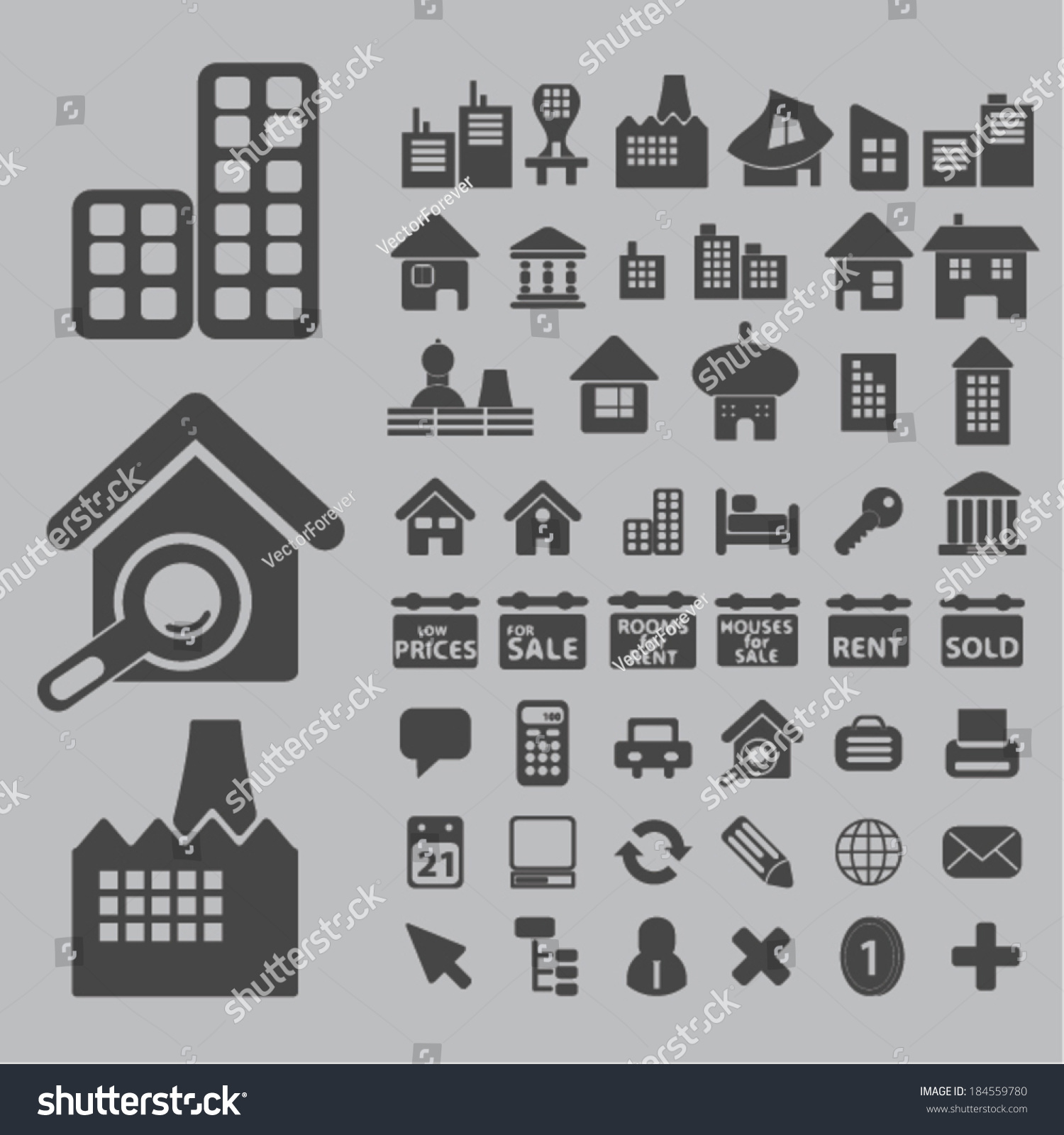 Architecture Houses Buildings Icons Signs Set For Website Apps Internet Design Stock Vector Illustration 184559780 Shutterstock