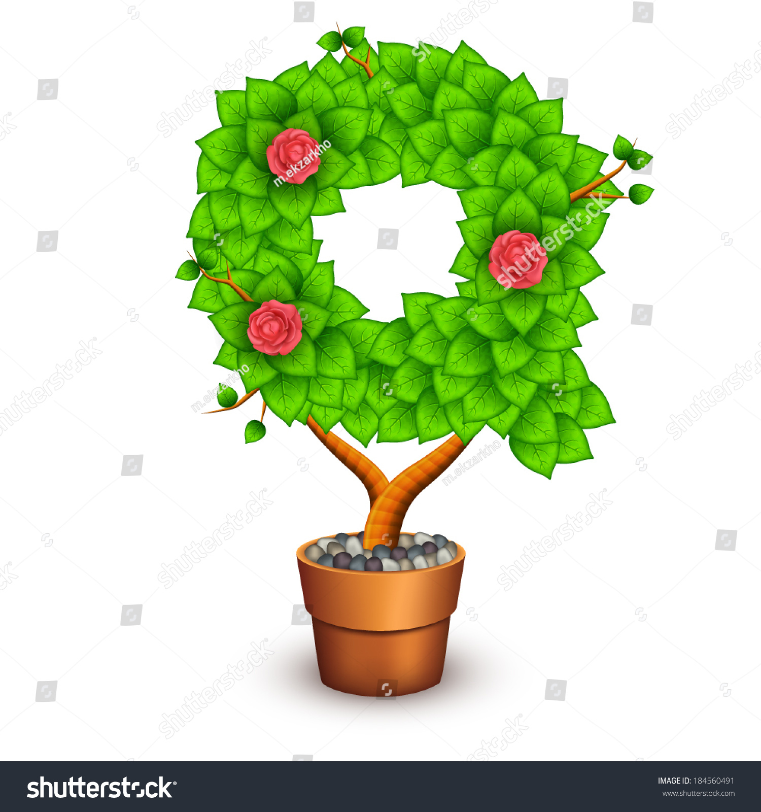 Isolated tree with flowers in clay pot. In the form of letter Q