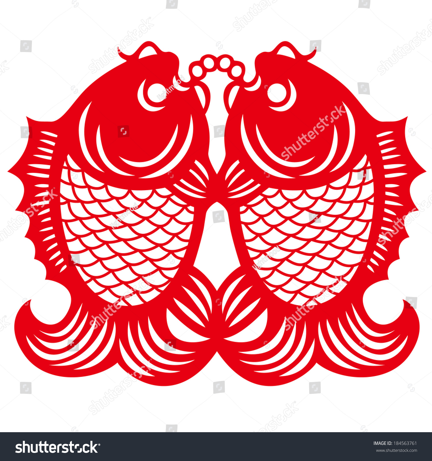 Double Fishes The Chinese Characters Fish Yu Stock Vector Royalty