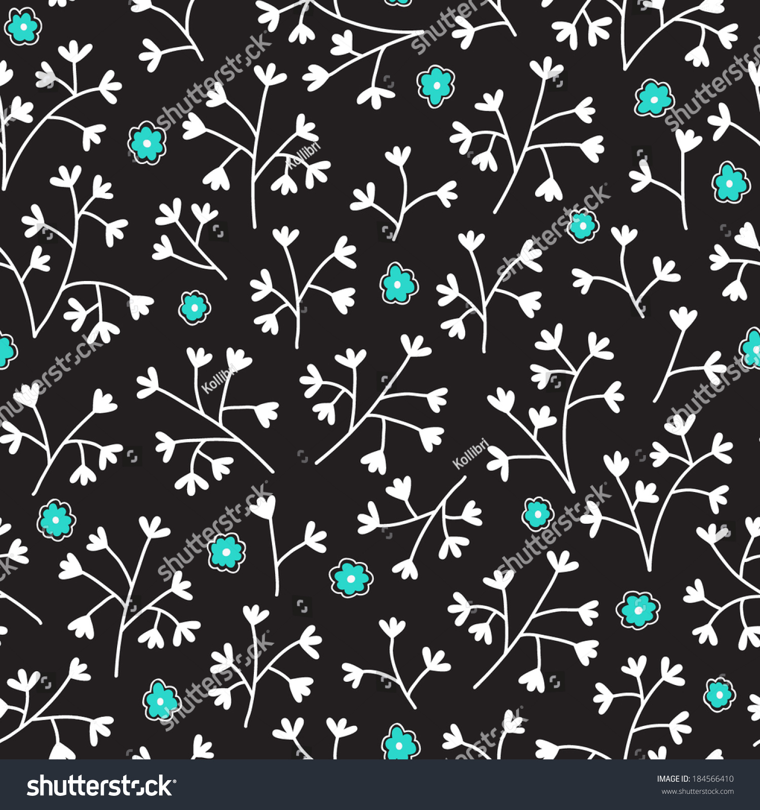Seamless Floral Pattern Small Flowers Endless Lager-vektor