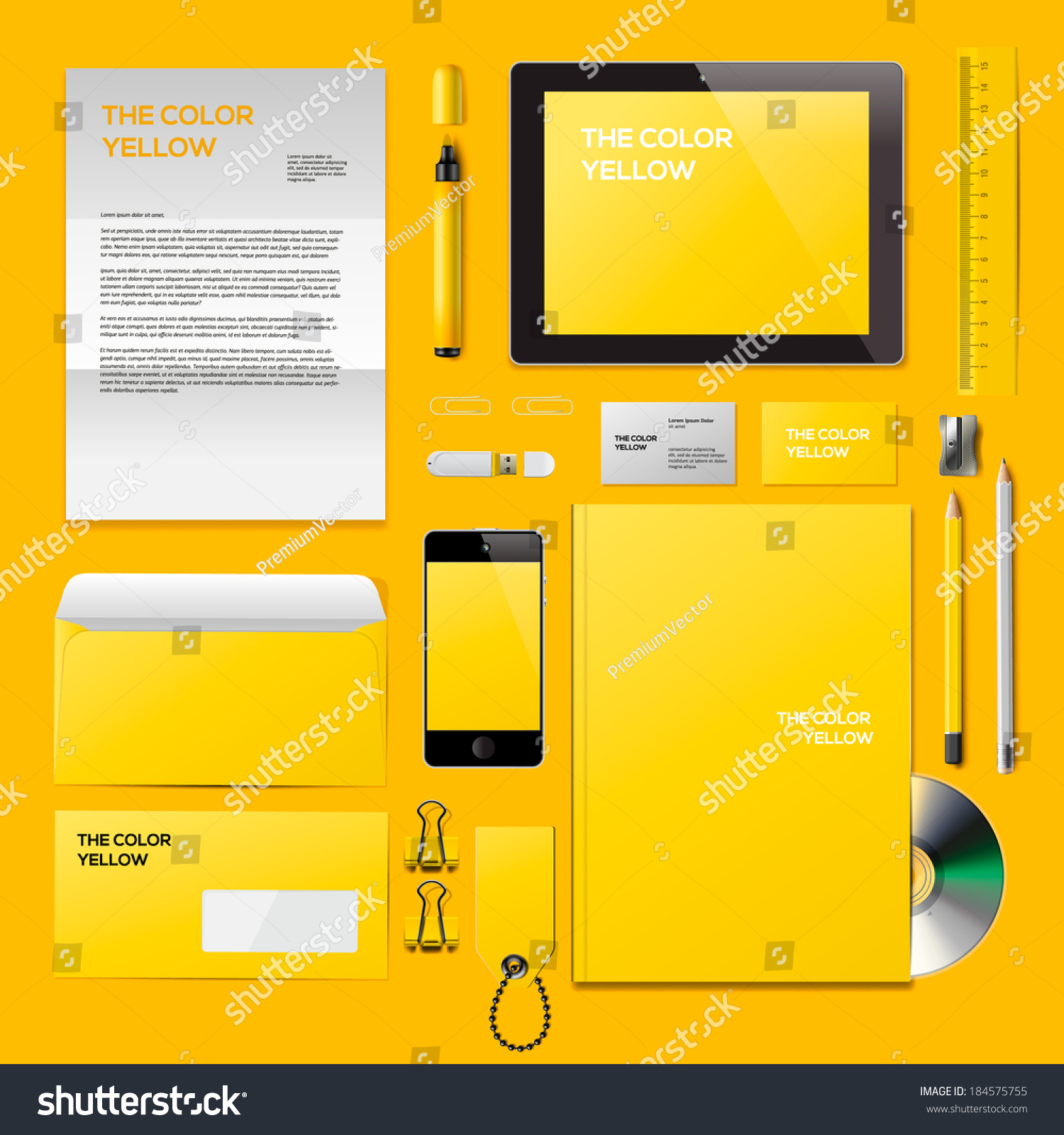 yellow corporate id mockup consist business stock vector