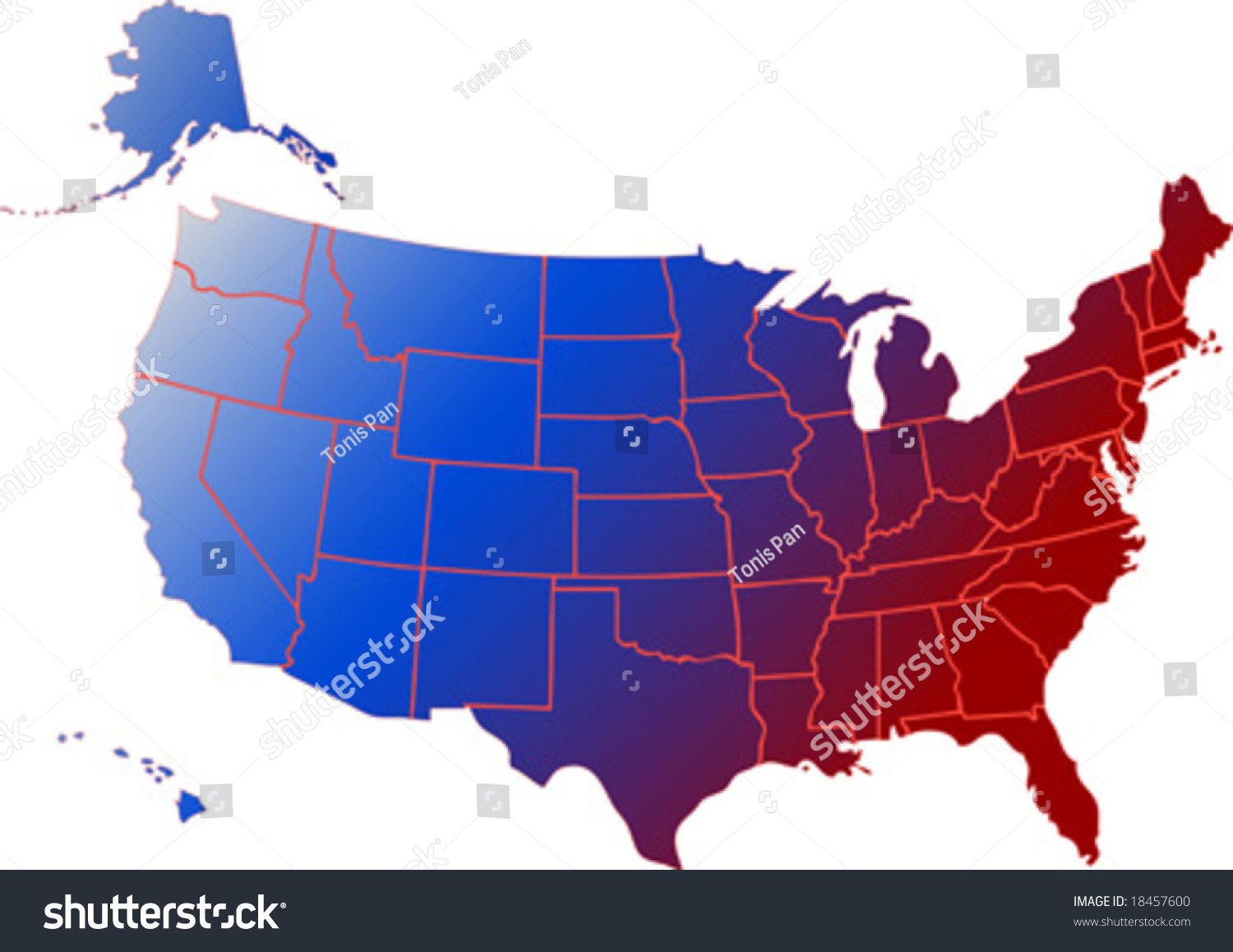 Vector Clip Art Map Of Usa With All Fifty States Showing Including Alaska And