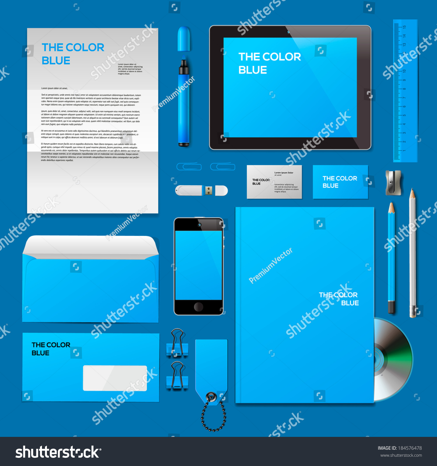 Blue Corporate Id Mockup Consist Business Stock Vector 184576478 ...
