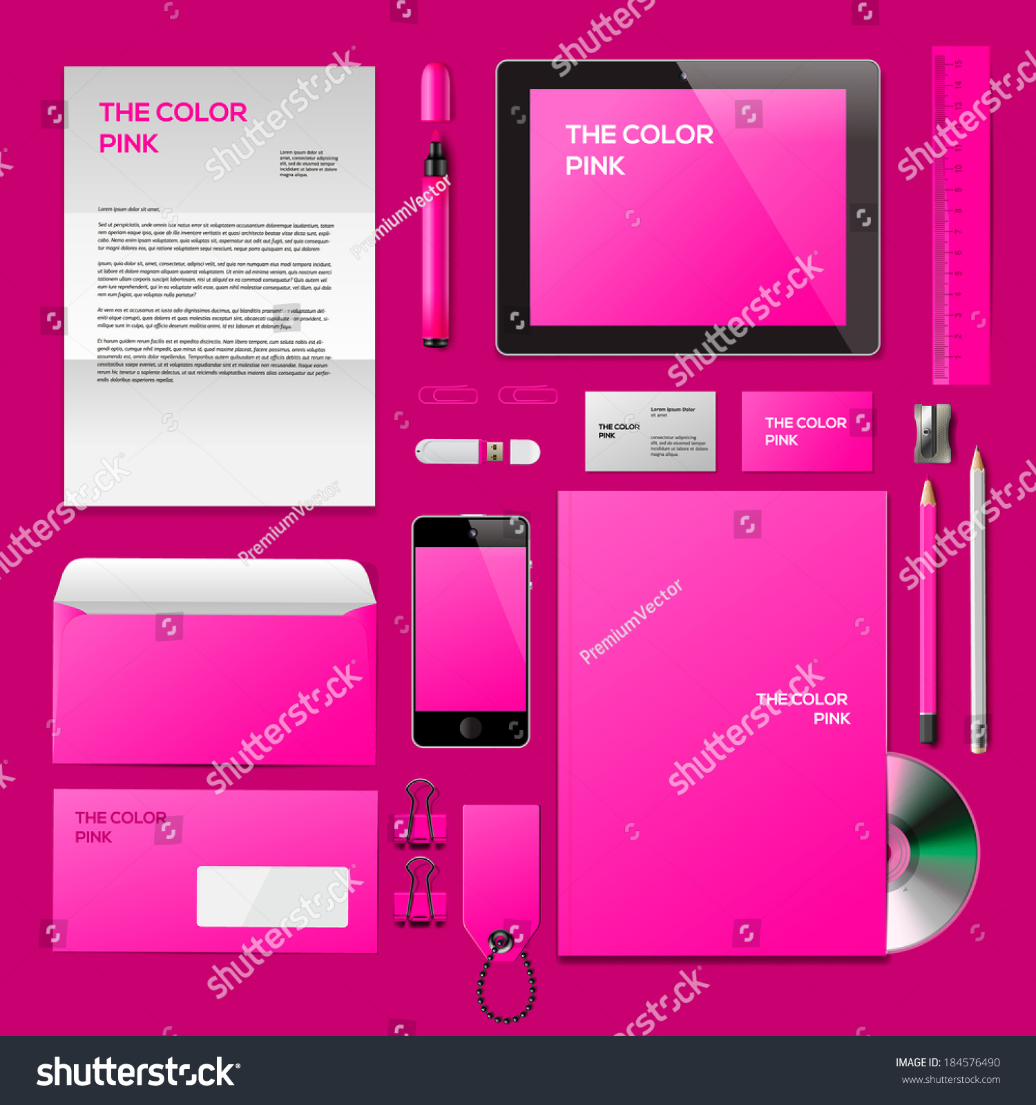 pink corporate id mockup consist business stock vector