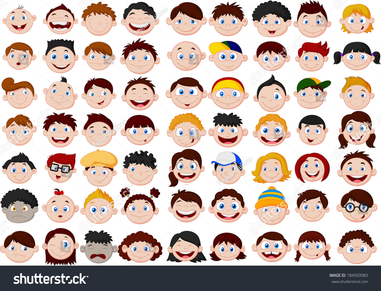 Set Of Cartoon Childrens Faces Stock Vector Art More: Set Cartoon Children Head Stock Vector 184593983