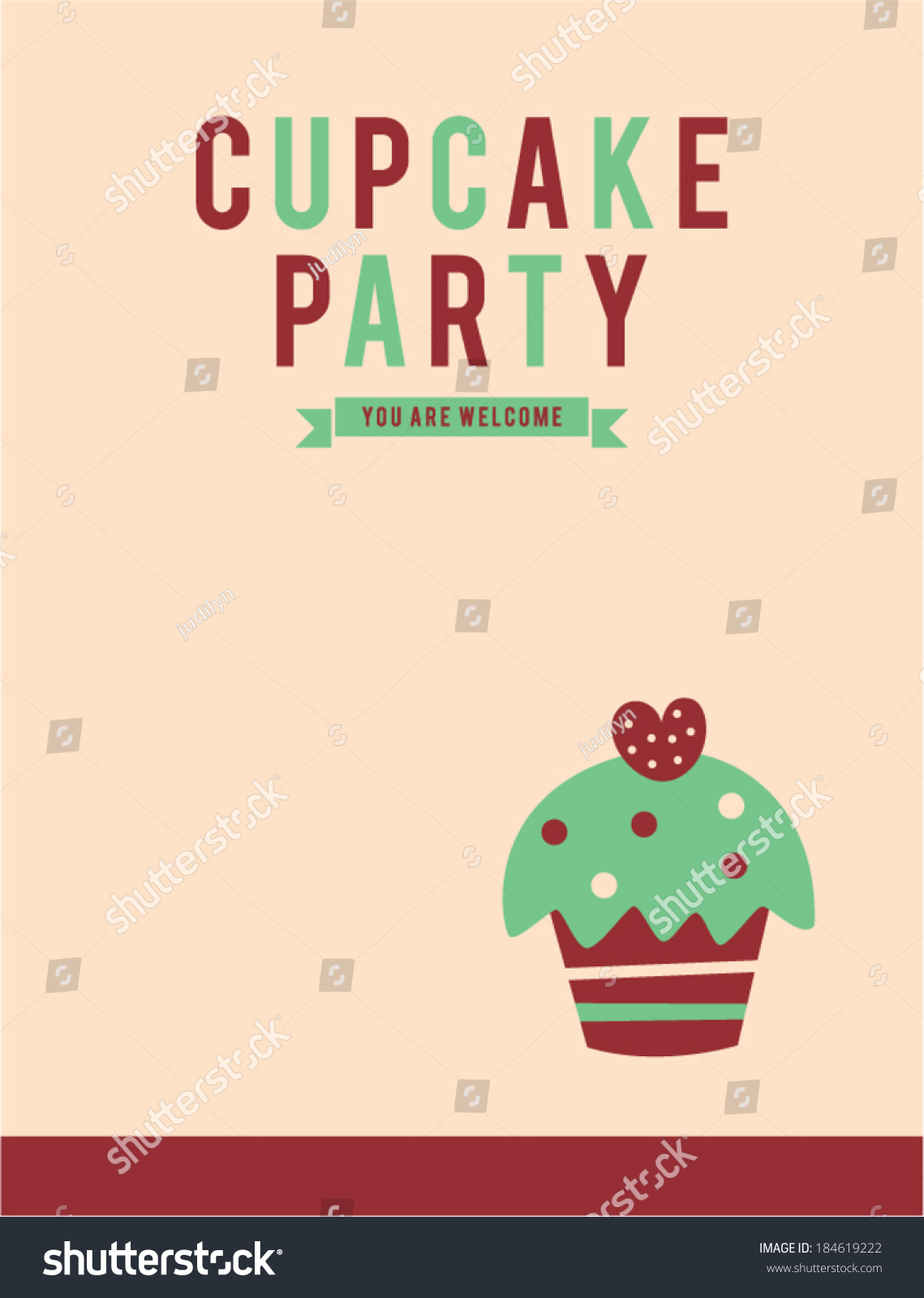 Retro Cupcake Party Invitation Card Stock Vector 184619222 ...