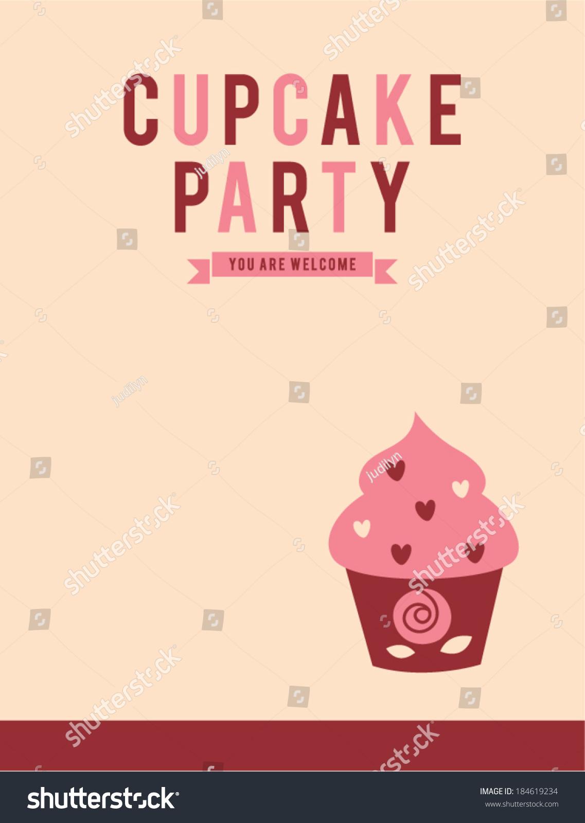 Retro Cupcake Party Invitation Card Stock Vector 184619234 ...
