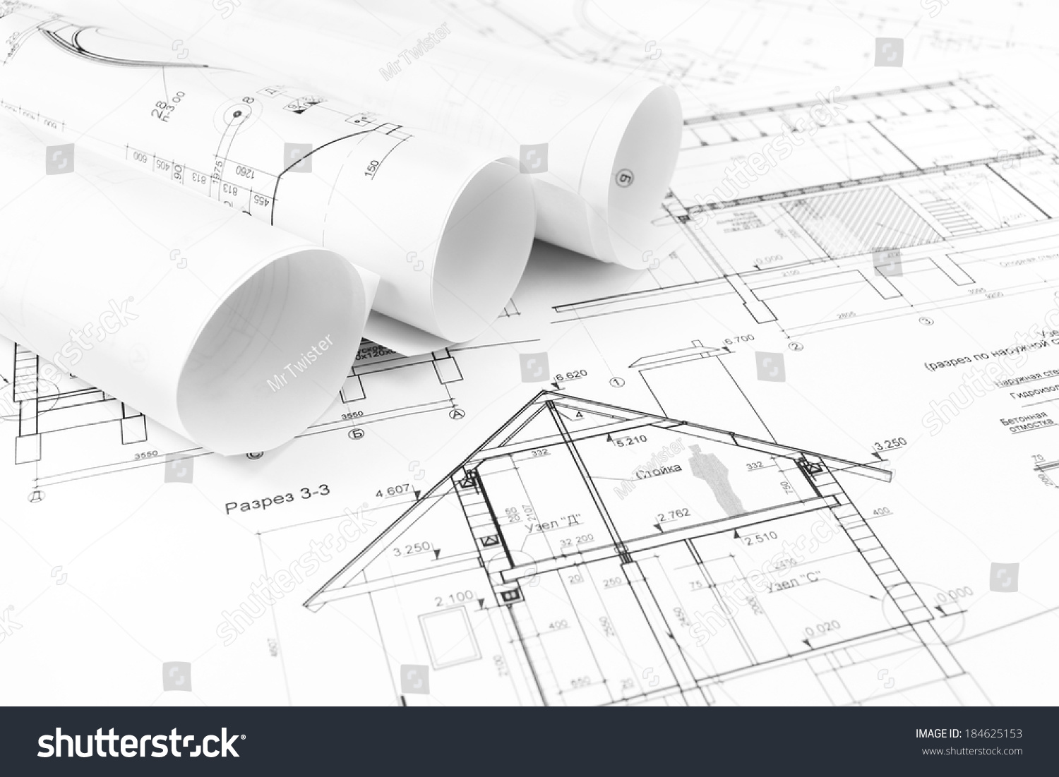 Rolls Architectural House Plans Engineering Blueprints Stock