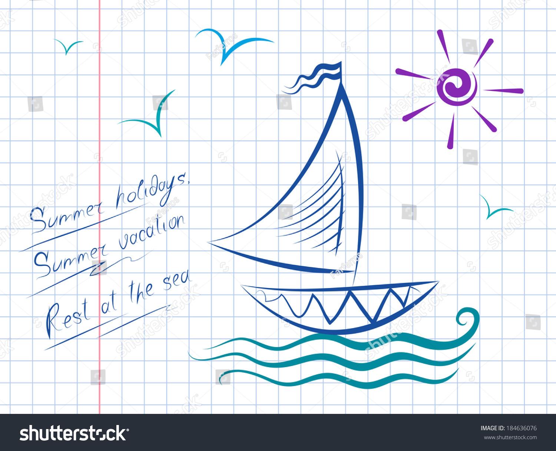 vector drawing sailboat on waves sun stock vector 184636076