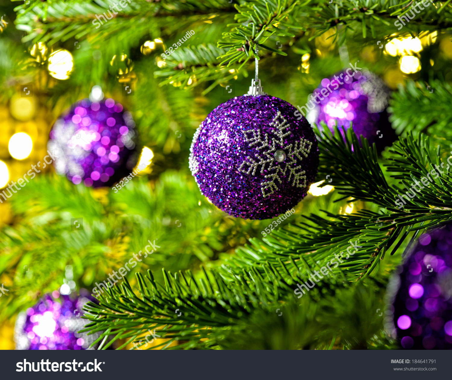 Bauble Ornament Real Christmas Tree Bright Stock Photo 184641791 ...