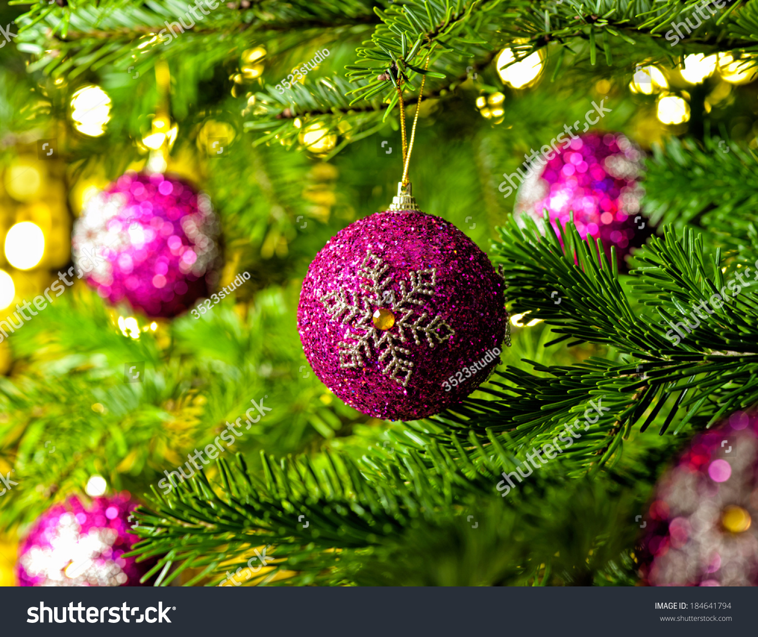 Bauble Ornament Real Christmas Tree Bright Stock Photo Edit Now 184641794