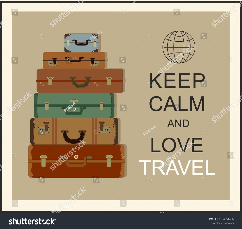 Vintage Travel Luggage Background Slogan Keep Stock Vector ...