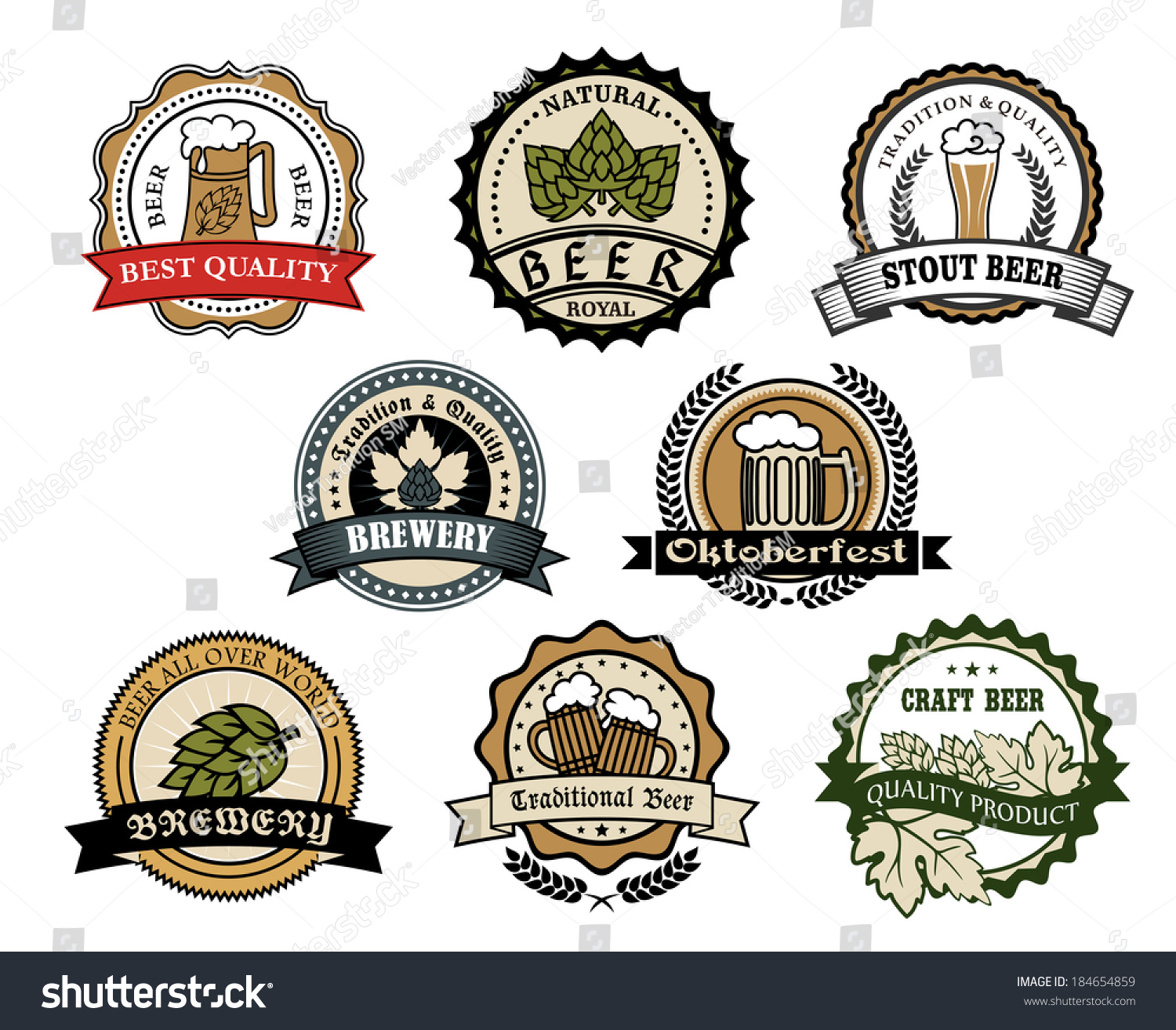 Brewery Beer Labels Logo Set Depicting Stock Vector (Royalty Free ...