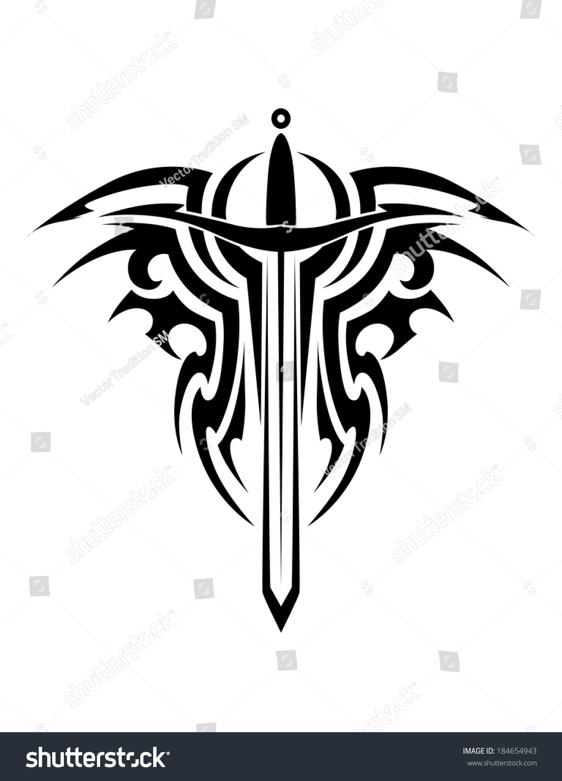 Tribal Tattoo Logo Design Medieval Sword Vector De Stock Libre De
