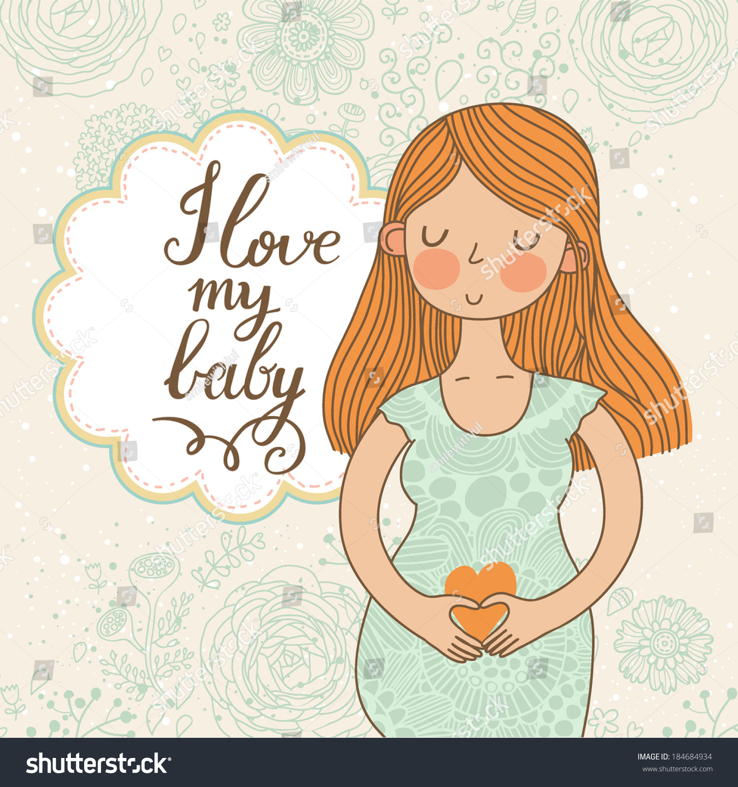 Cute Romantic Shower Card With Happy Pregnant Woman ...